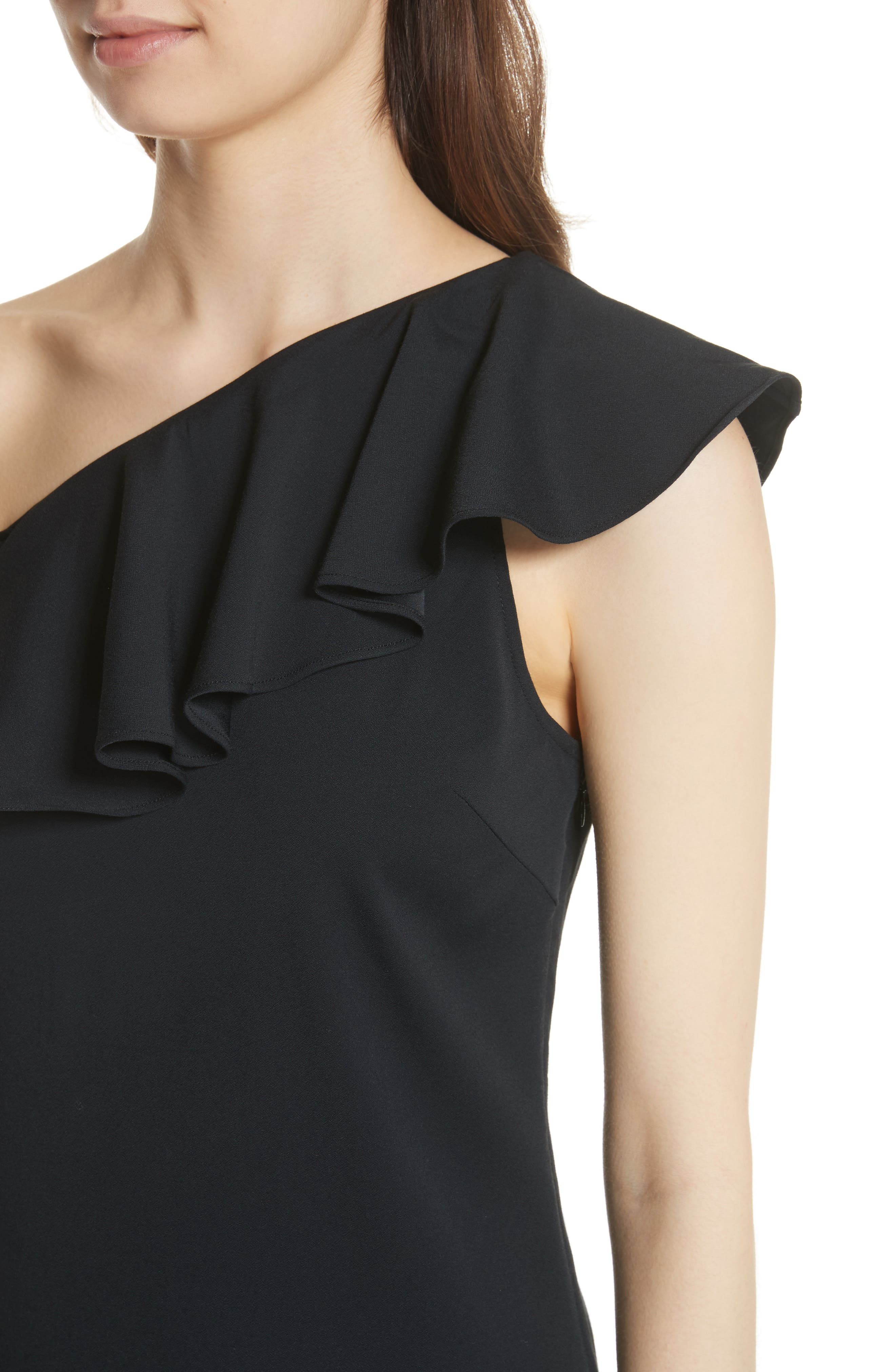 Bronwen Ruffled One-Shoulder Dress,                             Alternate thumbnail 4, color,                             Caviar