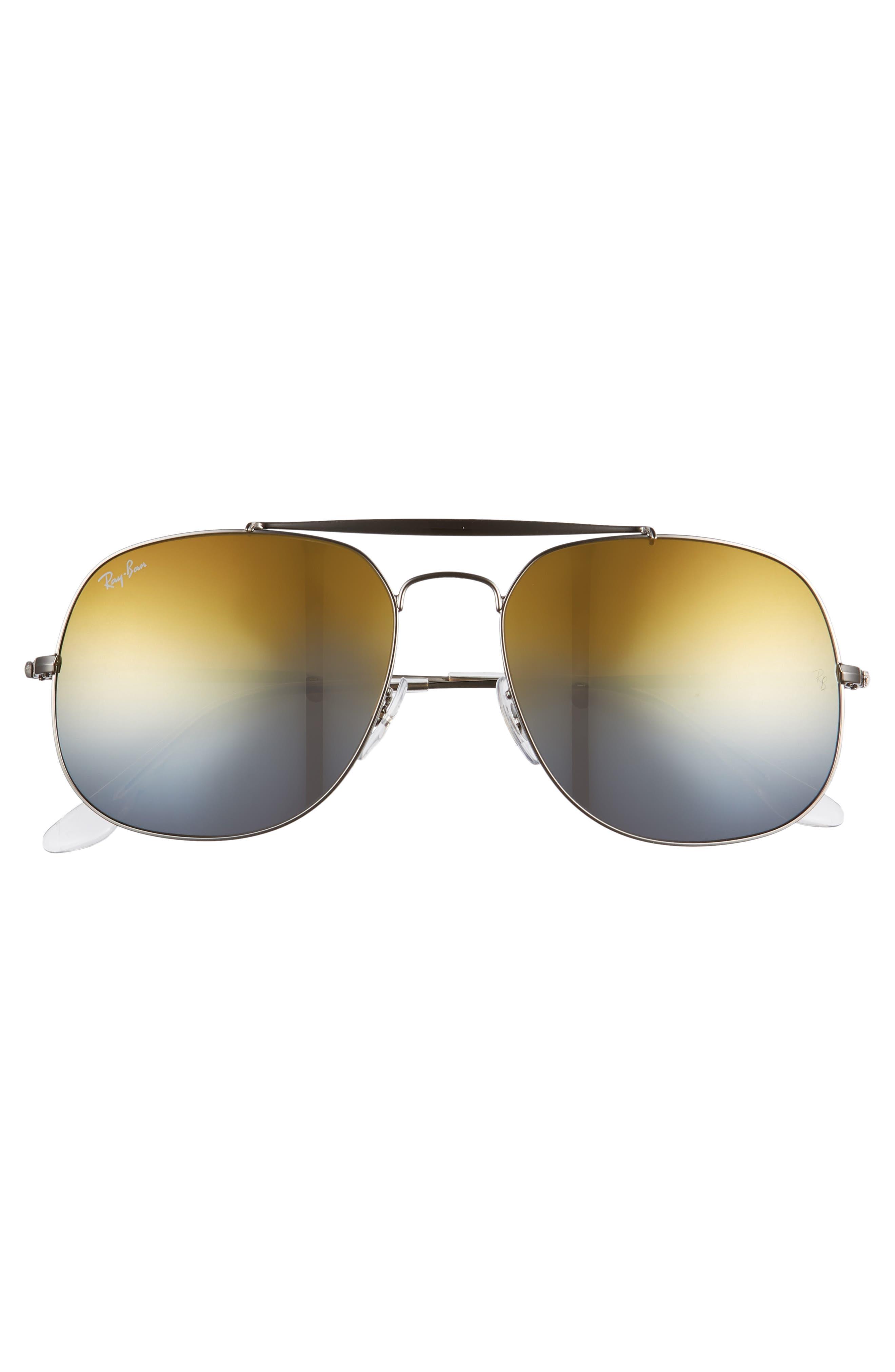 57mm Aviator Sunglasses,                             Alternate thumbnail 3, color,                             Grey Orange