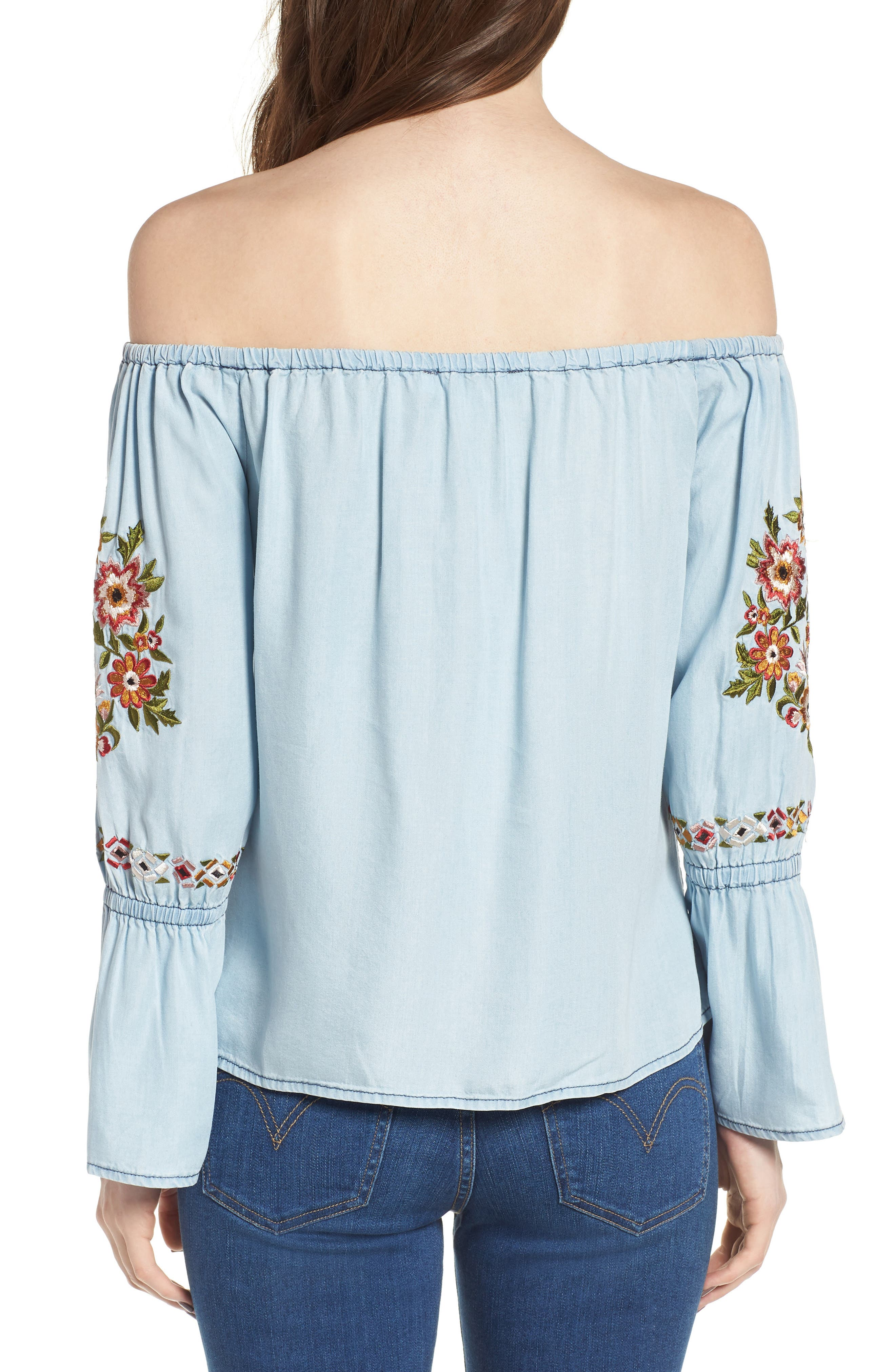 Adrien Off the Shoulder Top,                             Alternate thumbnail 2, color,                             Chambray