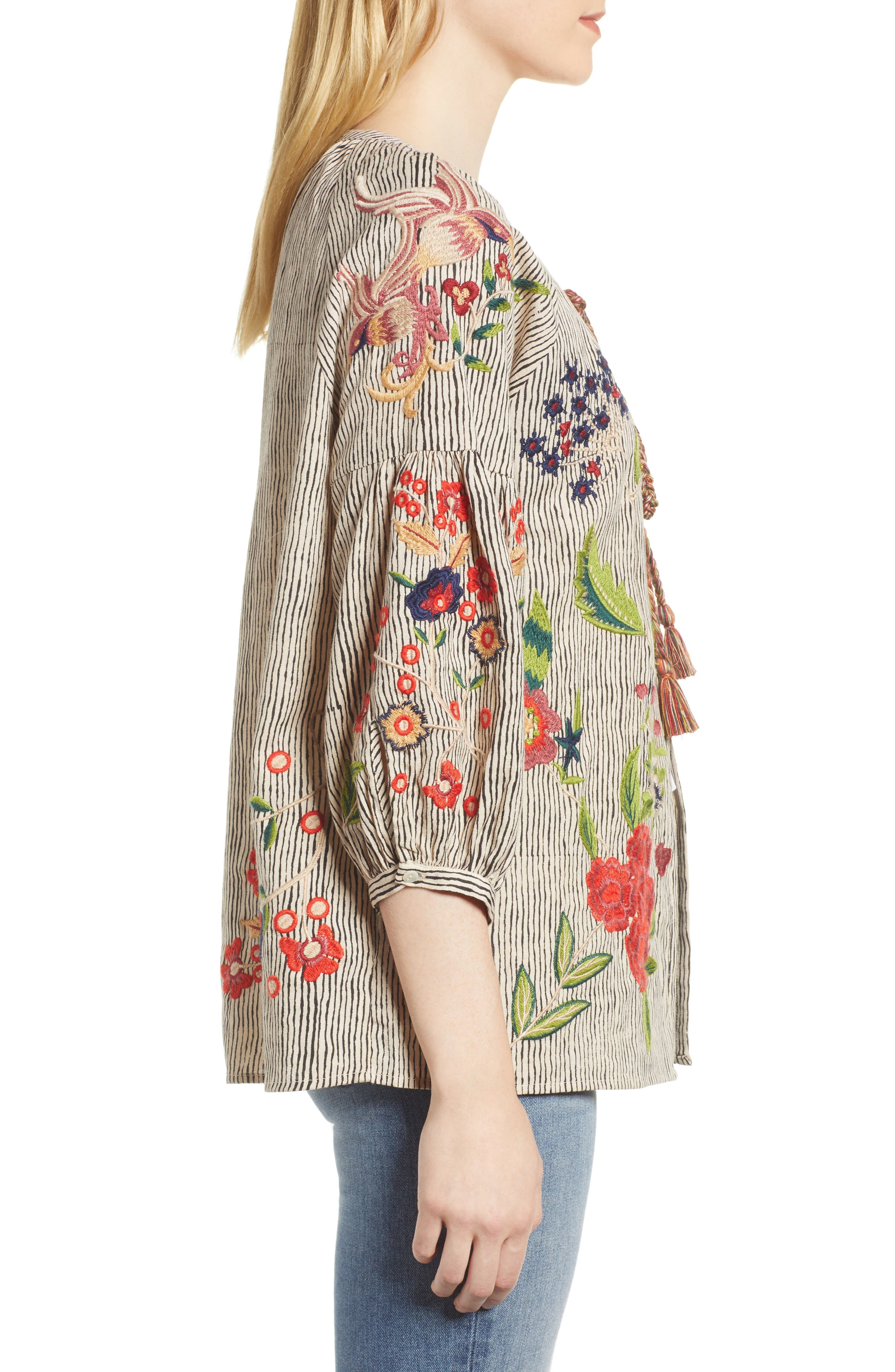 Embroidered Stripe Jacket,                             Alternate thumbnail 3, color,                             Multi