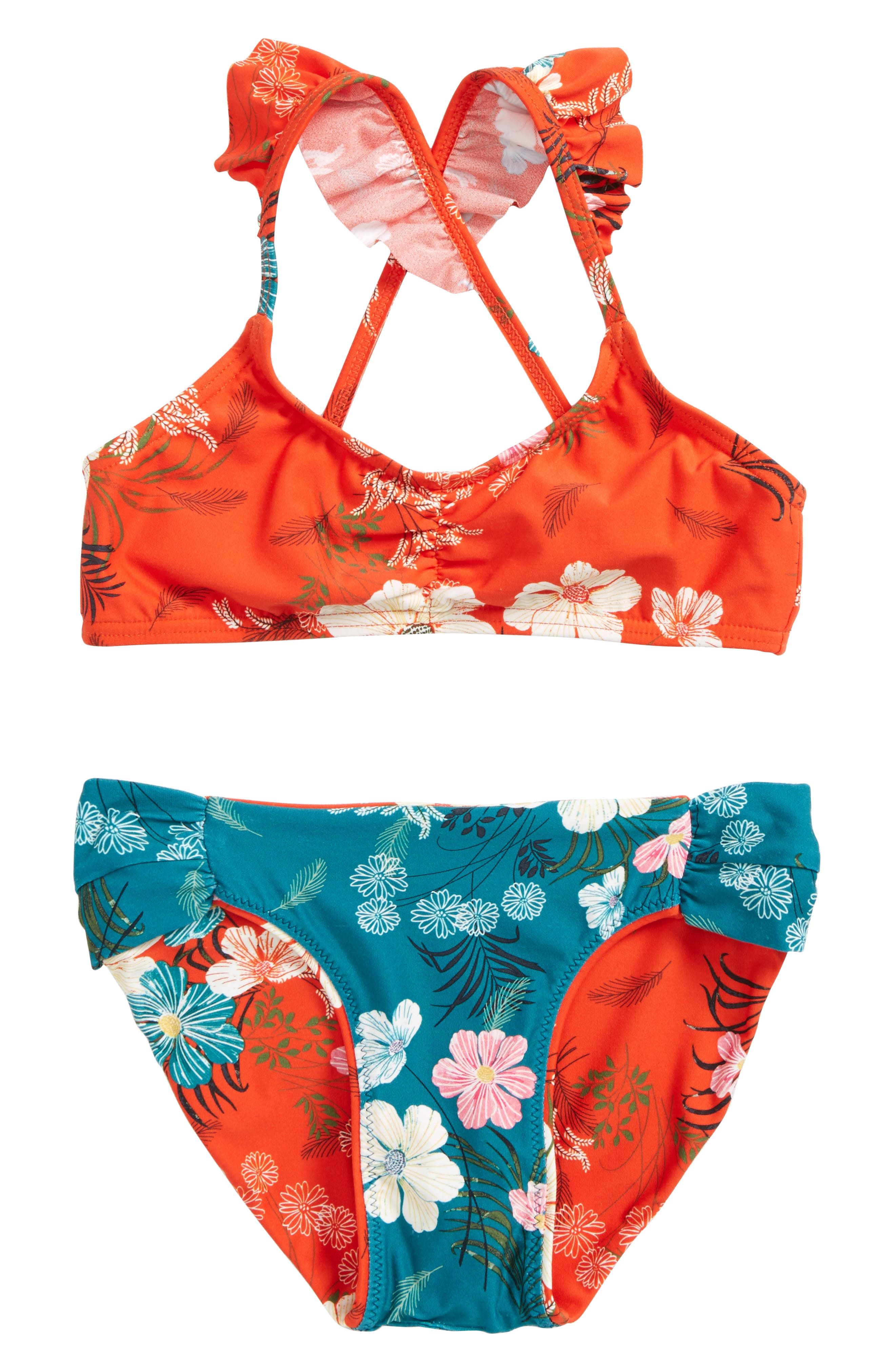 Lucy Floral Two-Piece Swimsuit,                             Alternate thumbnail 2, color,                             Tigerlily
