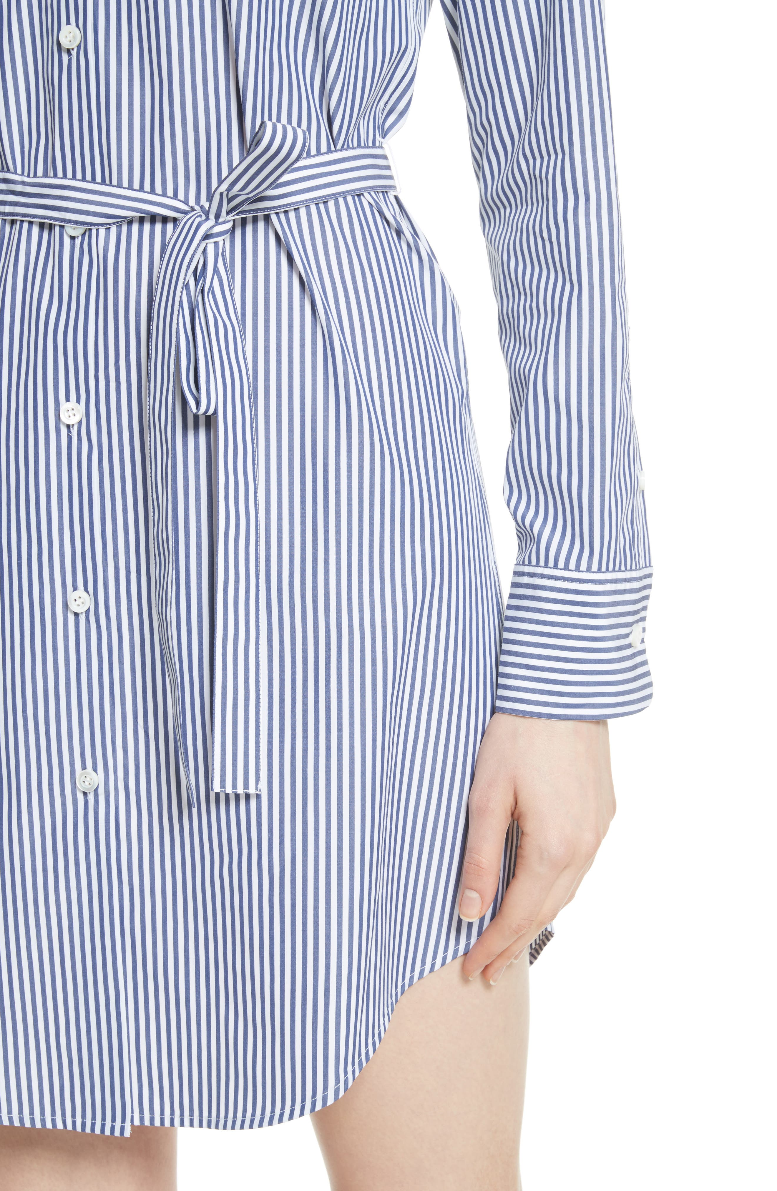 Clean Stripe Shirtdress,                             Alternate thumbnail 5, color,                             Blue/ White
