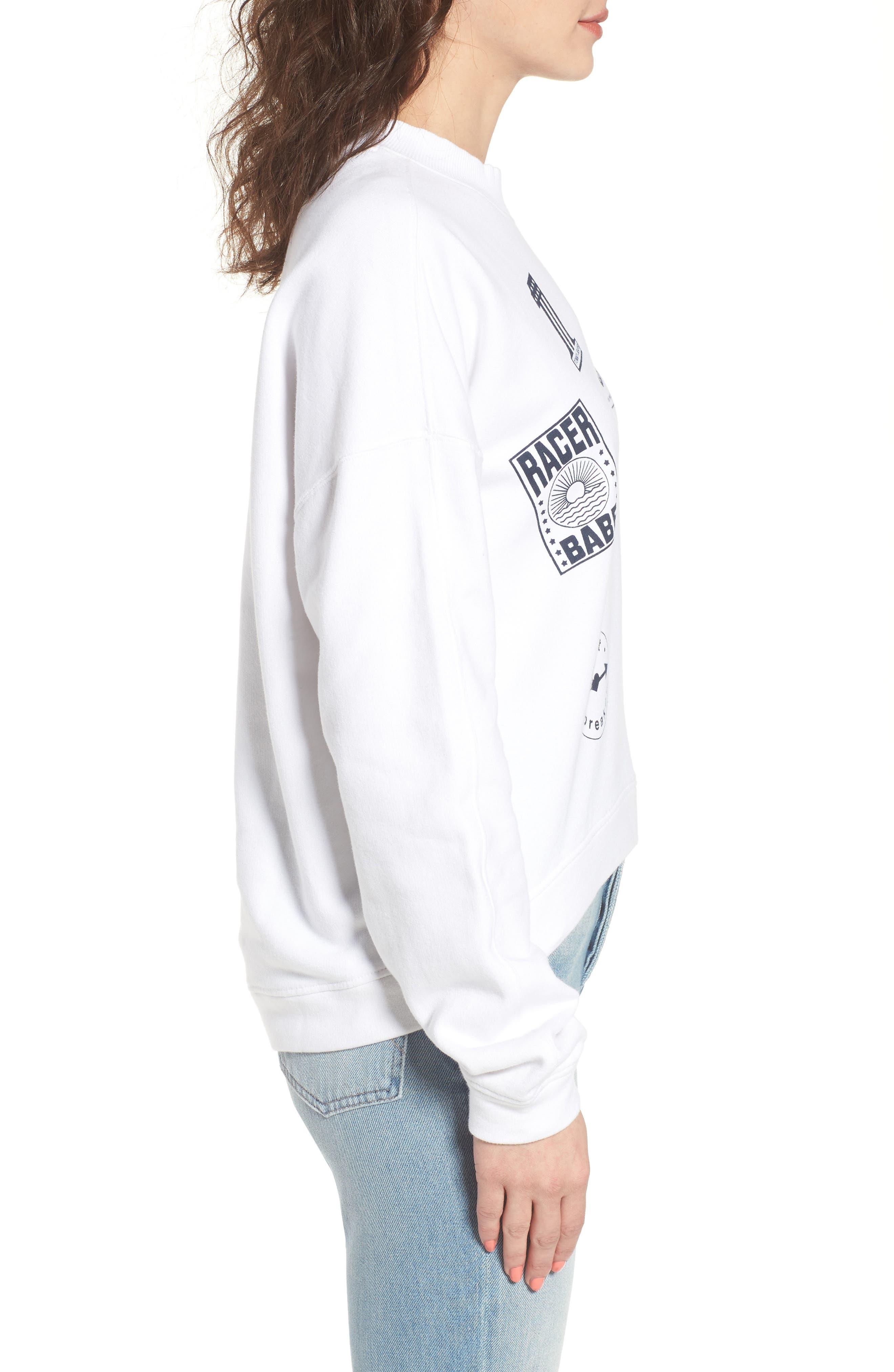 Race Uniform Badge Sweatshirt,                             Alternate thumbnail 3, color,                             Bright White