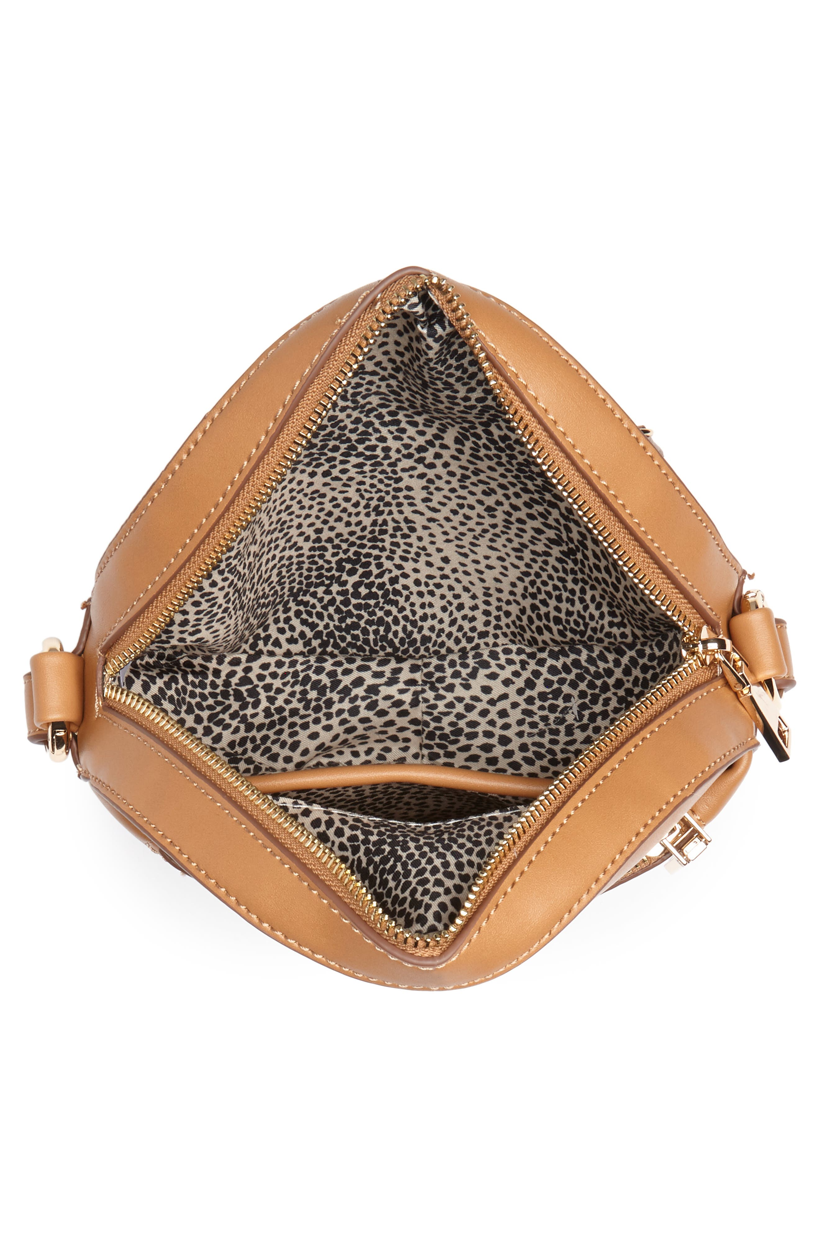 Faux Leather Canteen Crossbody Bag,                             Alternate thumbnail 4, color,                             Camel