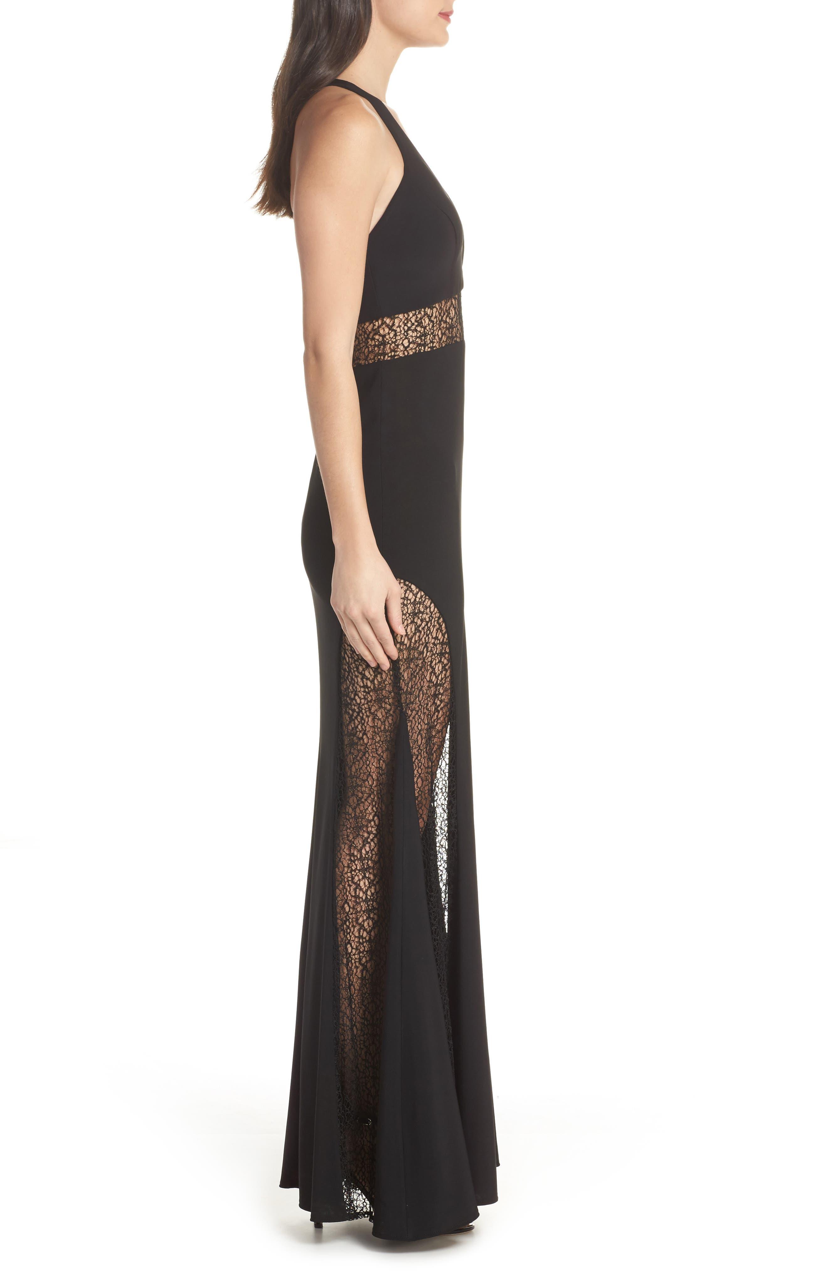 Lace Inset Gown,                             Alternate thumbnail 3, color,                             Black