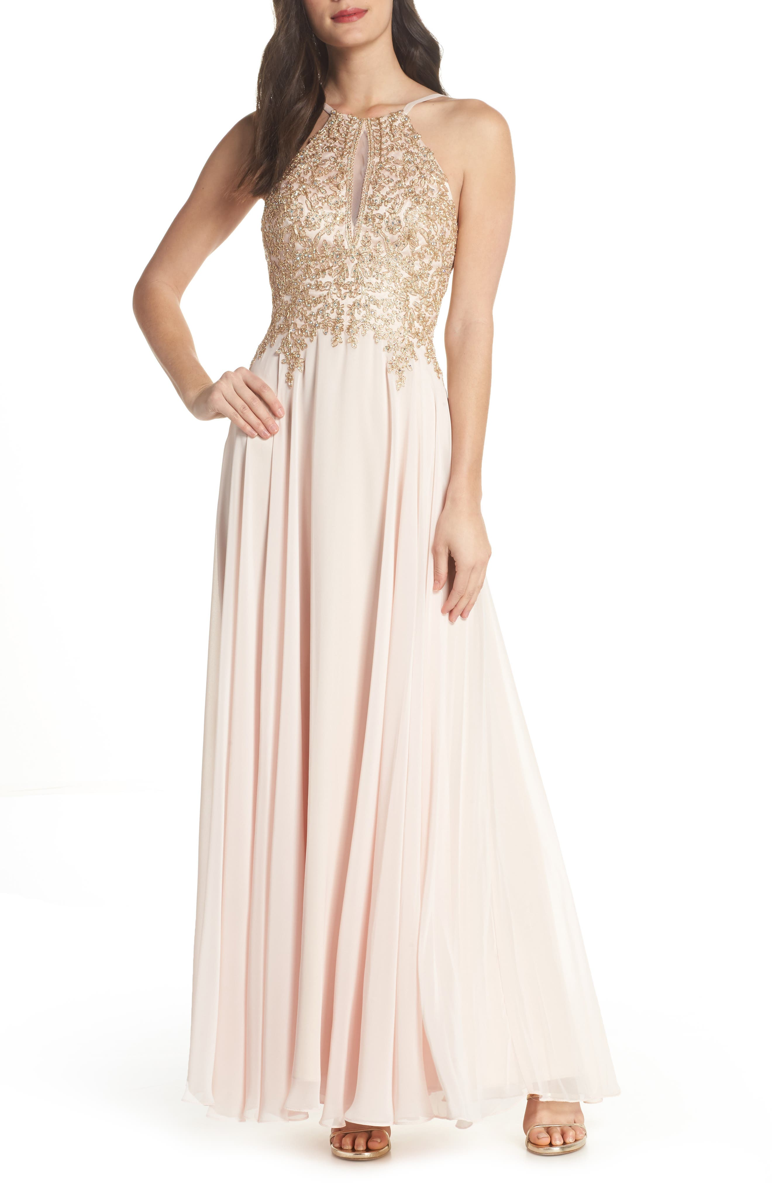 Embroidered Chiffon Halter Dress,                         Main,                         color, Blush/ Gold