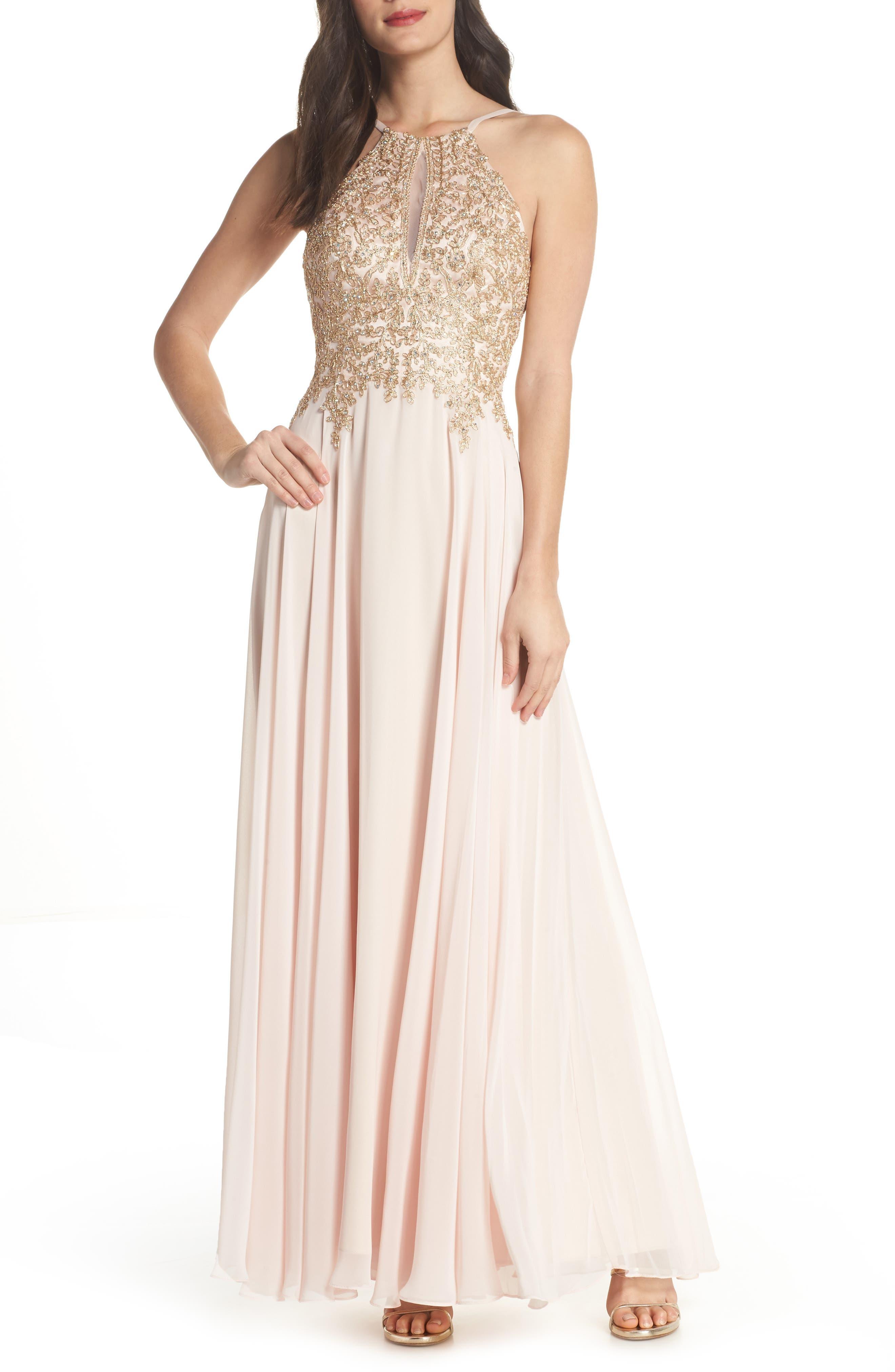 Xscape Embroidered Chiffon Halter Dress
