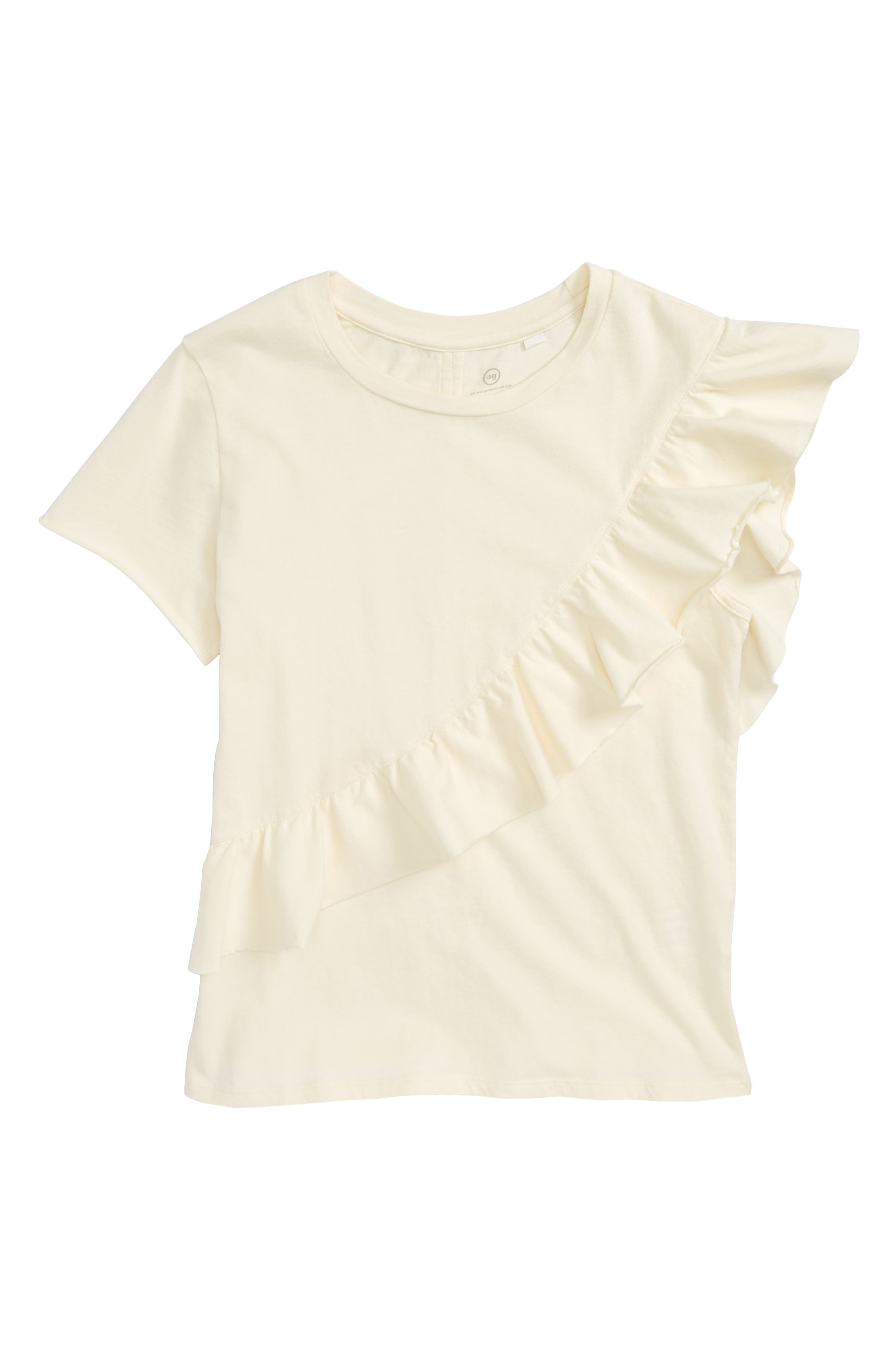 Cassie Ruffle Tee,                         Main,                         color, Bleached Sand