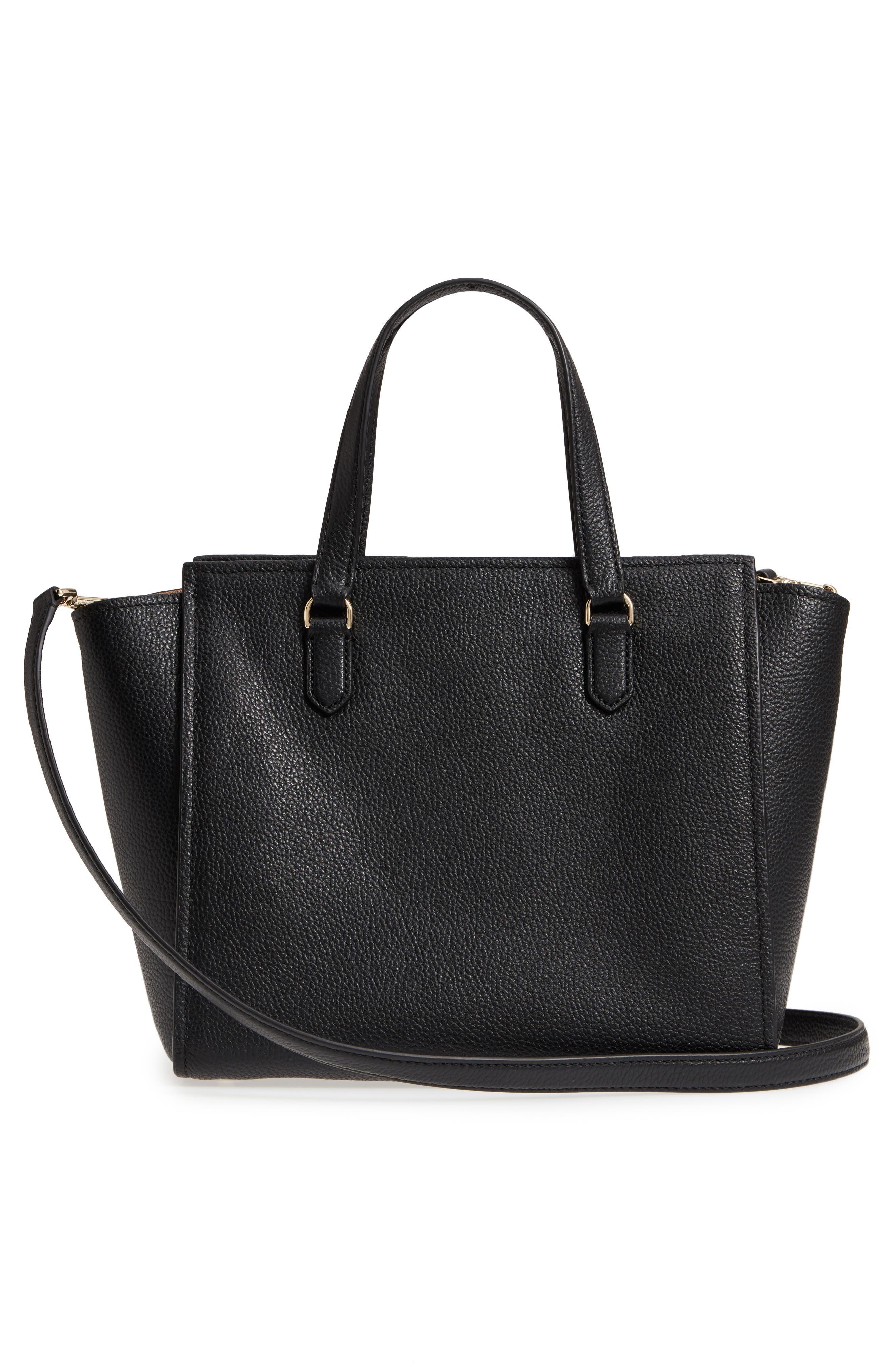 trent hill - hayden leather satchel,                             Alternate thumbnail 3, color,                             Black