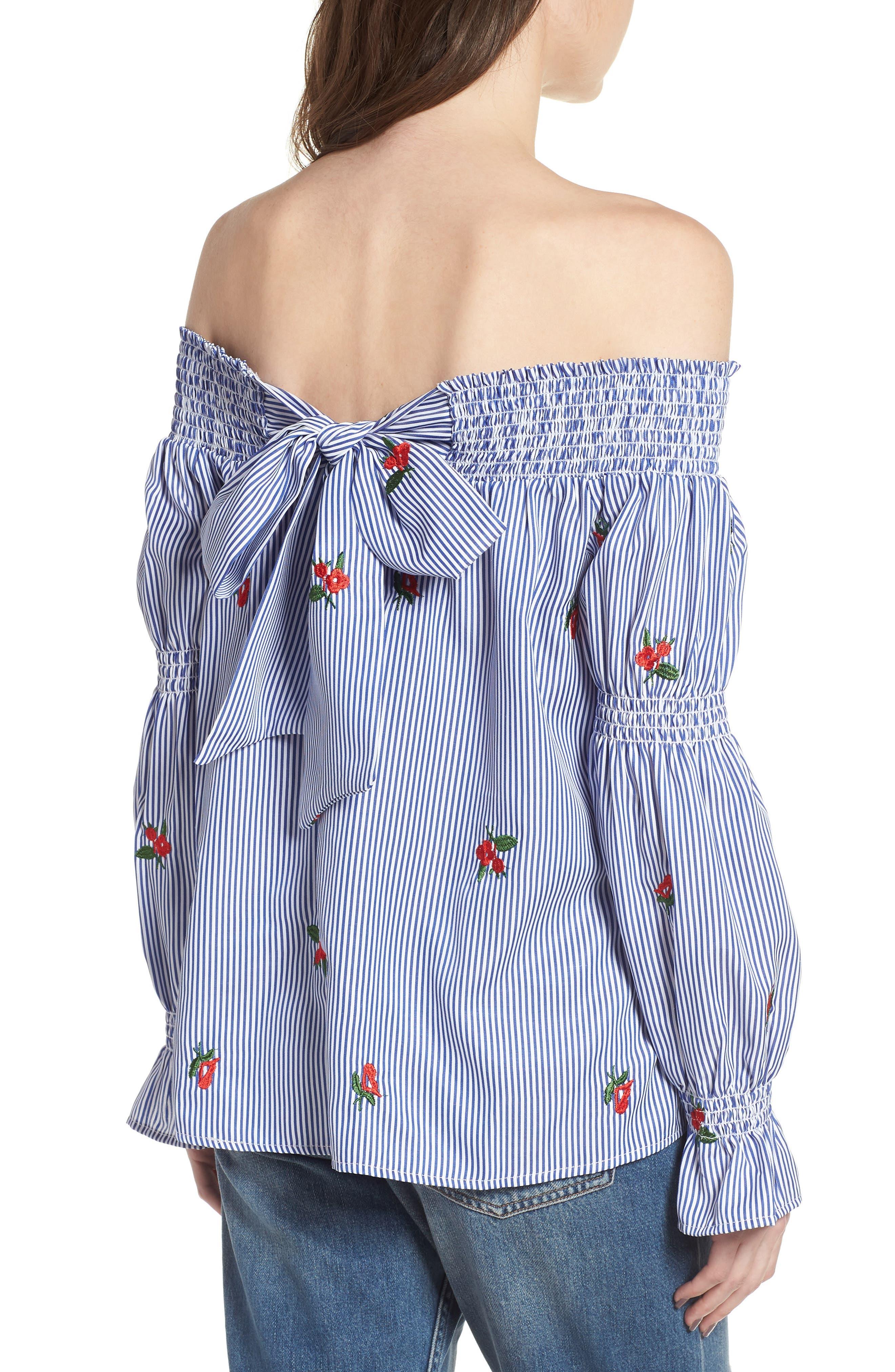 Floral Embroidered Stripe Off the Shoulder Top,                             Alternate thumbnail 2, color,                             Blue Stripe