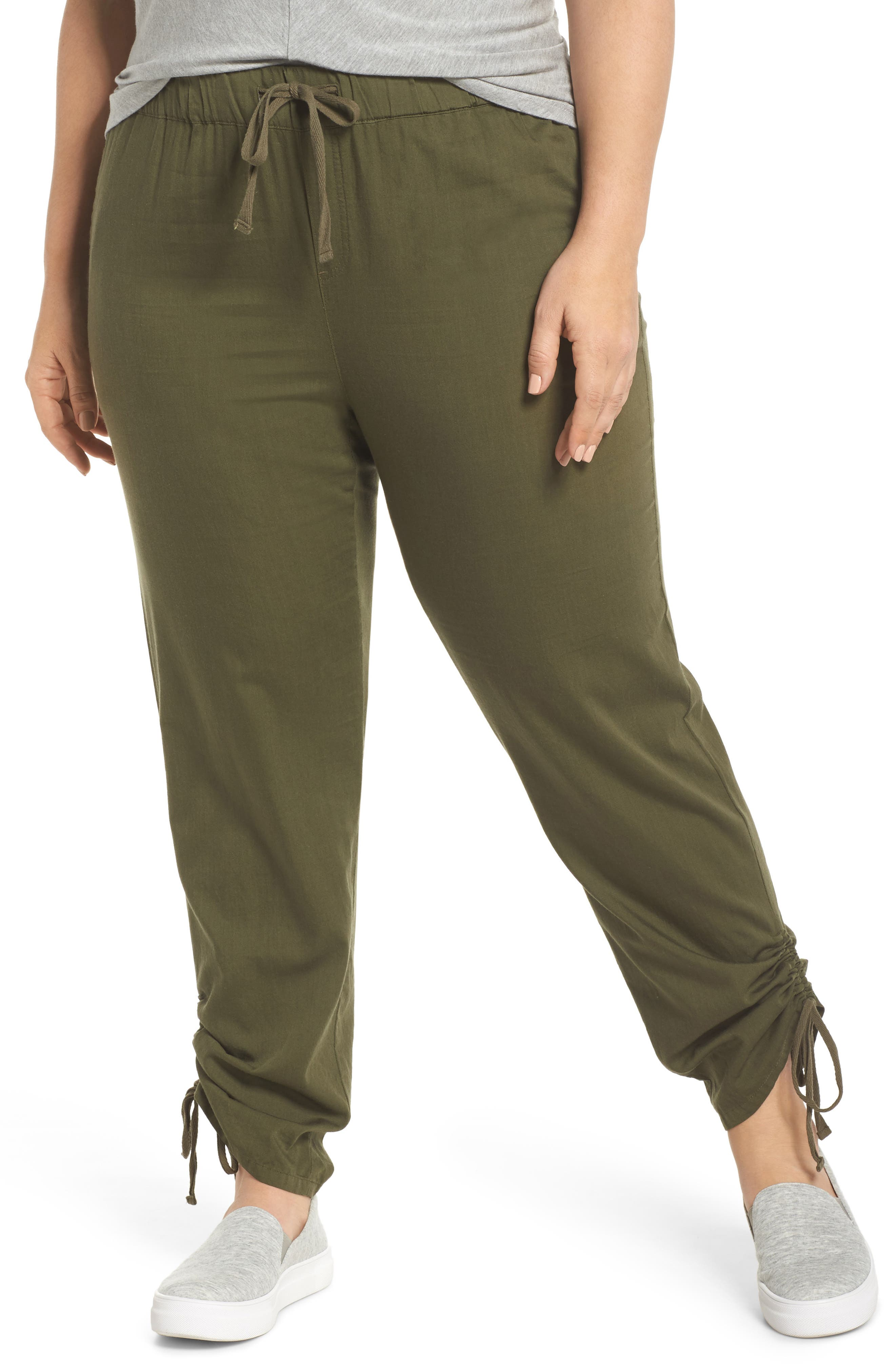 Caslon® Side Ruched Ankle Pants (Plus Size)