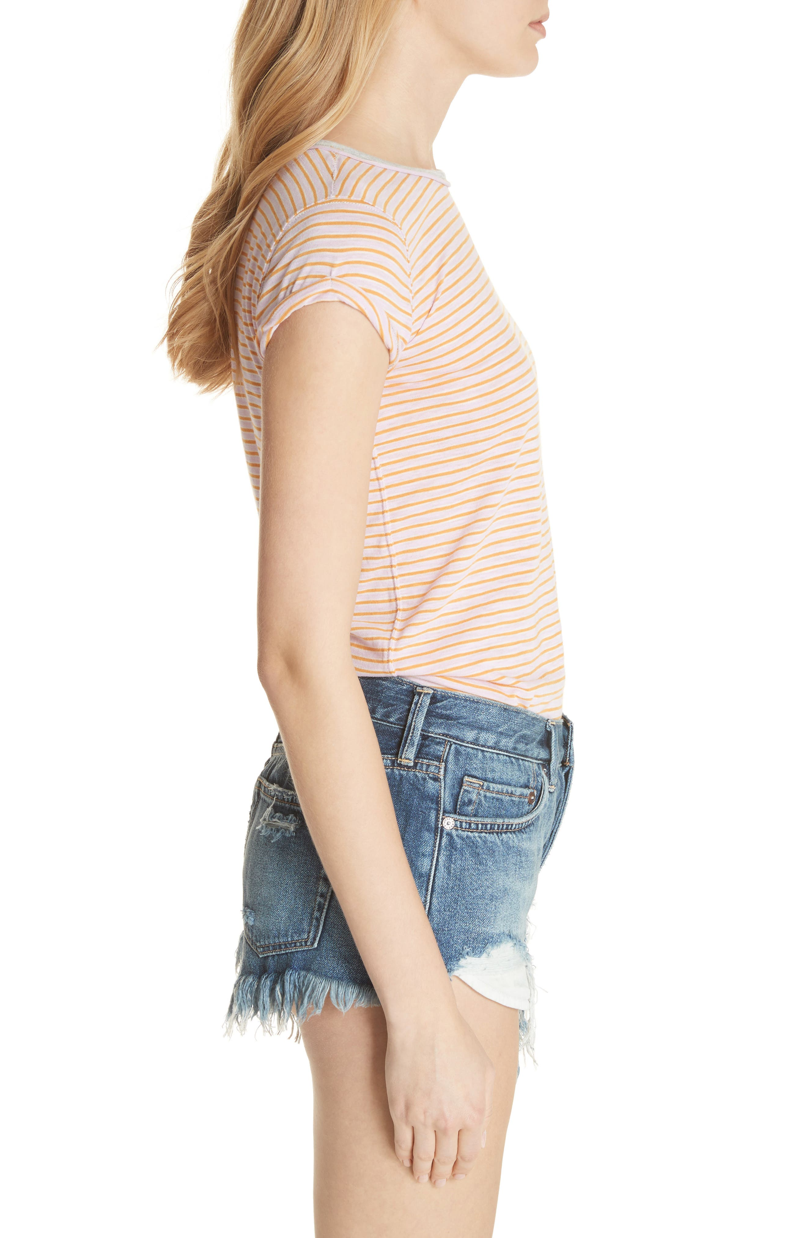 Clare Stripe Tee,                             Alternate thumbnail 3, color,                             Pink Combo