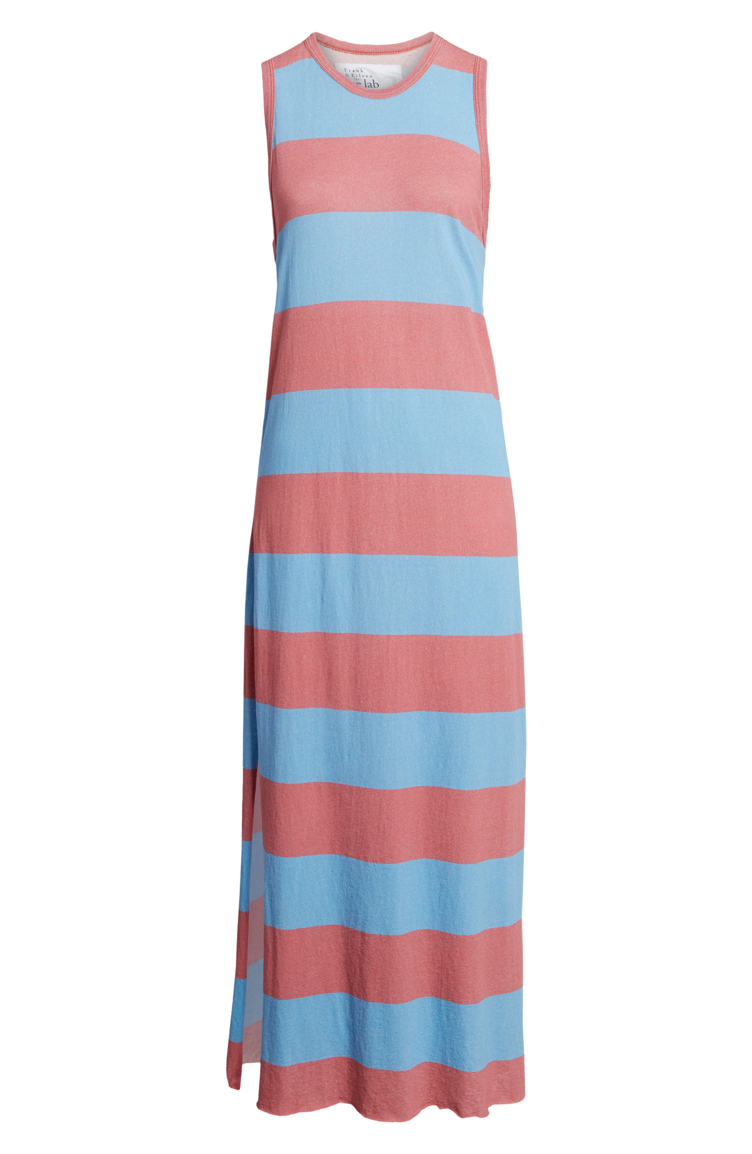 Stripe Muscle Maxi Dress,                             Alternate thumbnail 6, color,                             Red Rugby