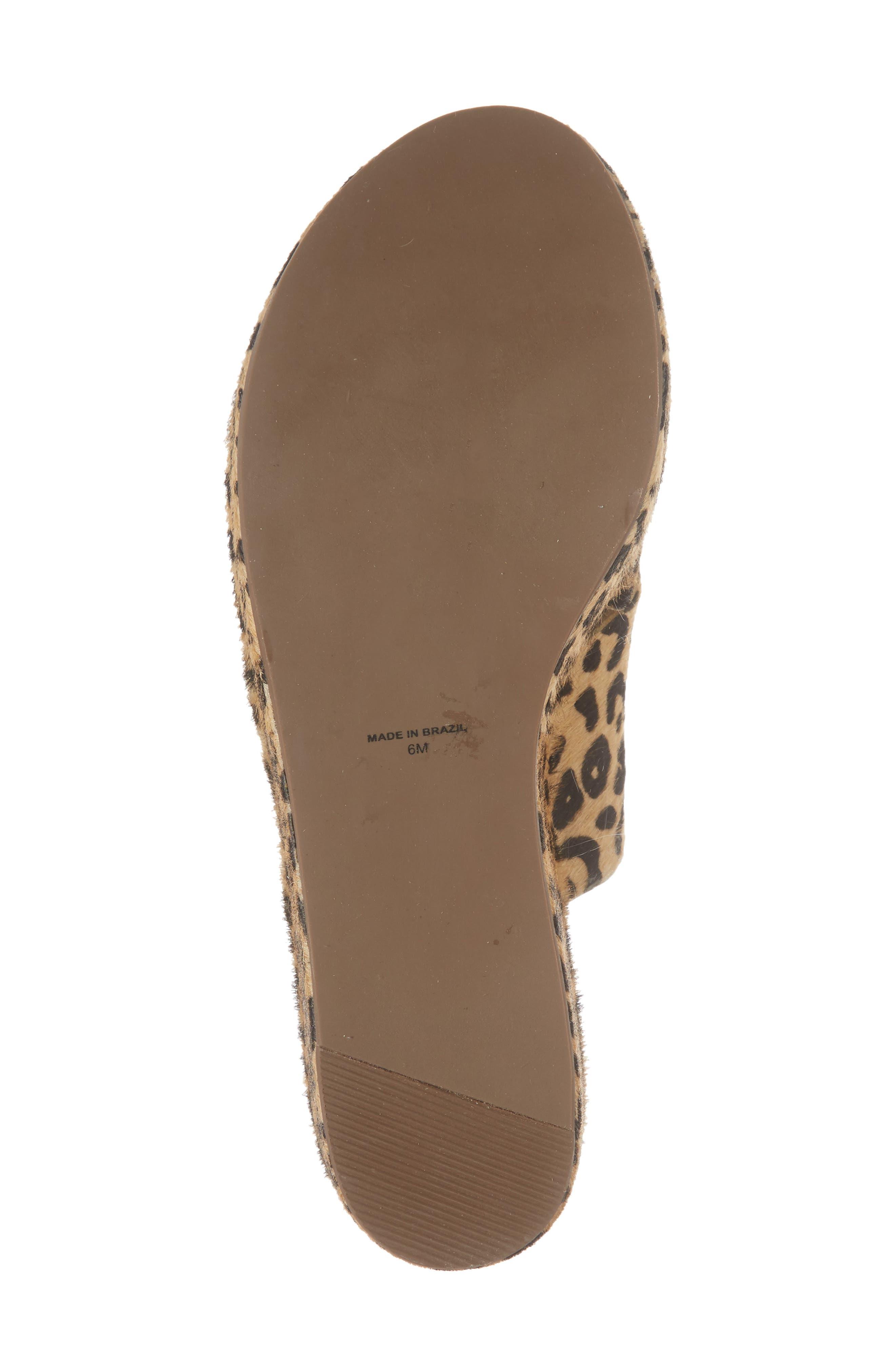 Runway Wedge Sandal,                             Alternate thumbnail 6, color,                             Leopard Calf Hair