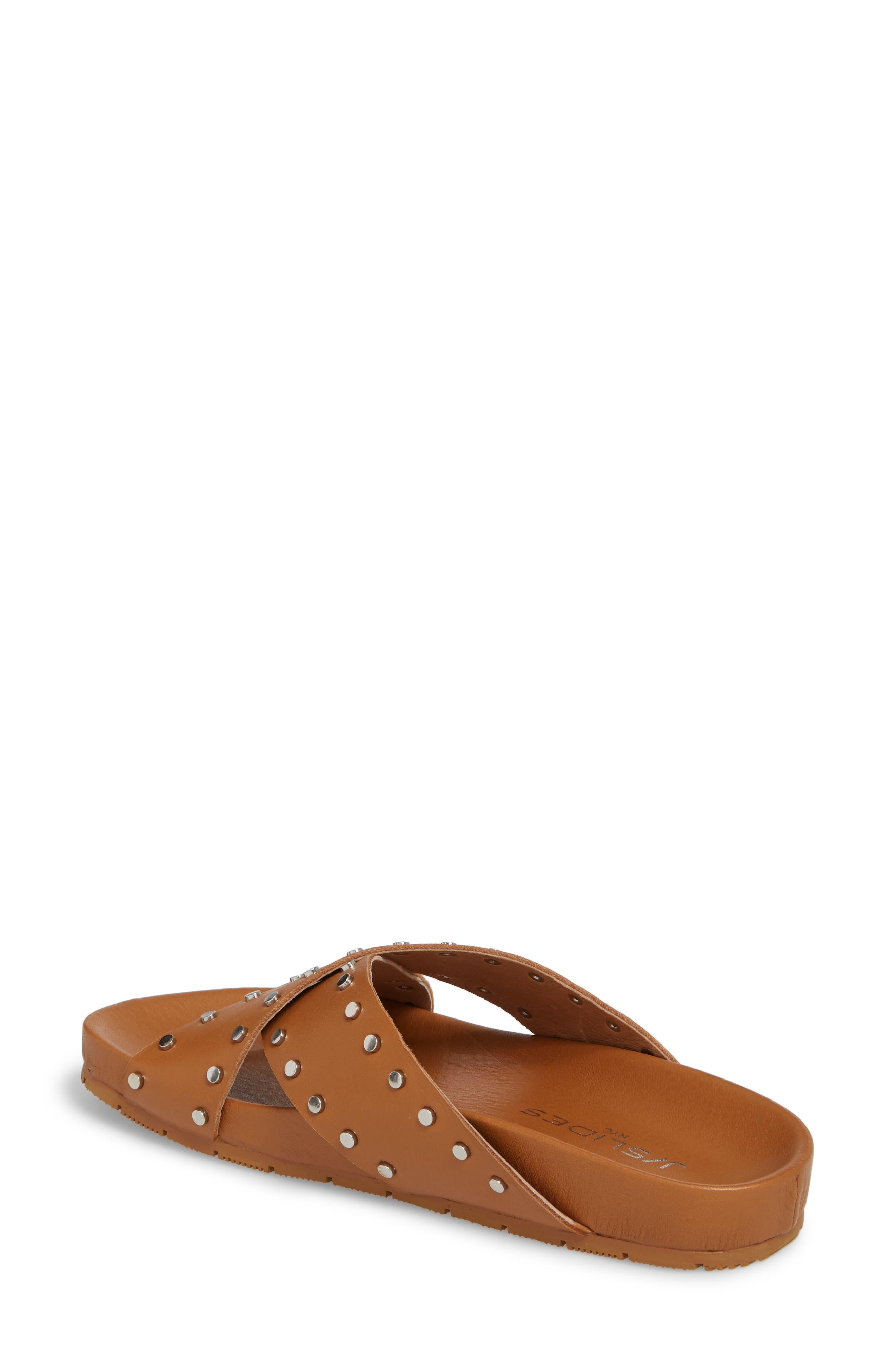 Ellie Studded Slide Sandal,                             Alternate thumbnail 2, color,                             Tan Leather