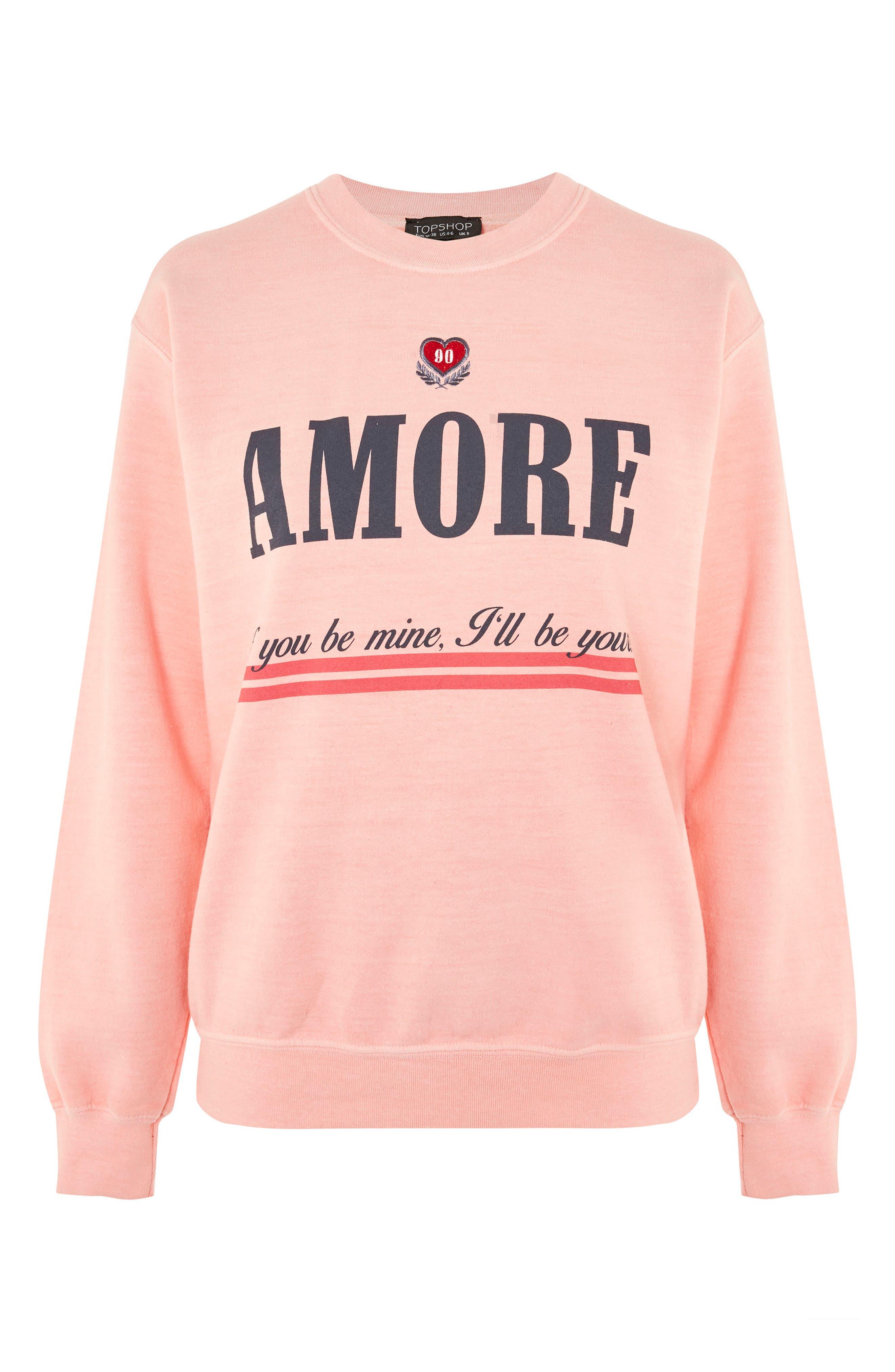 Alternate Image 4  - Topshop Embroidered Amore Sweatshirt