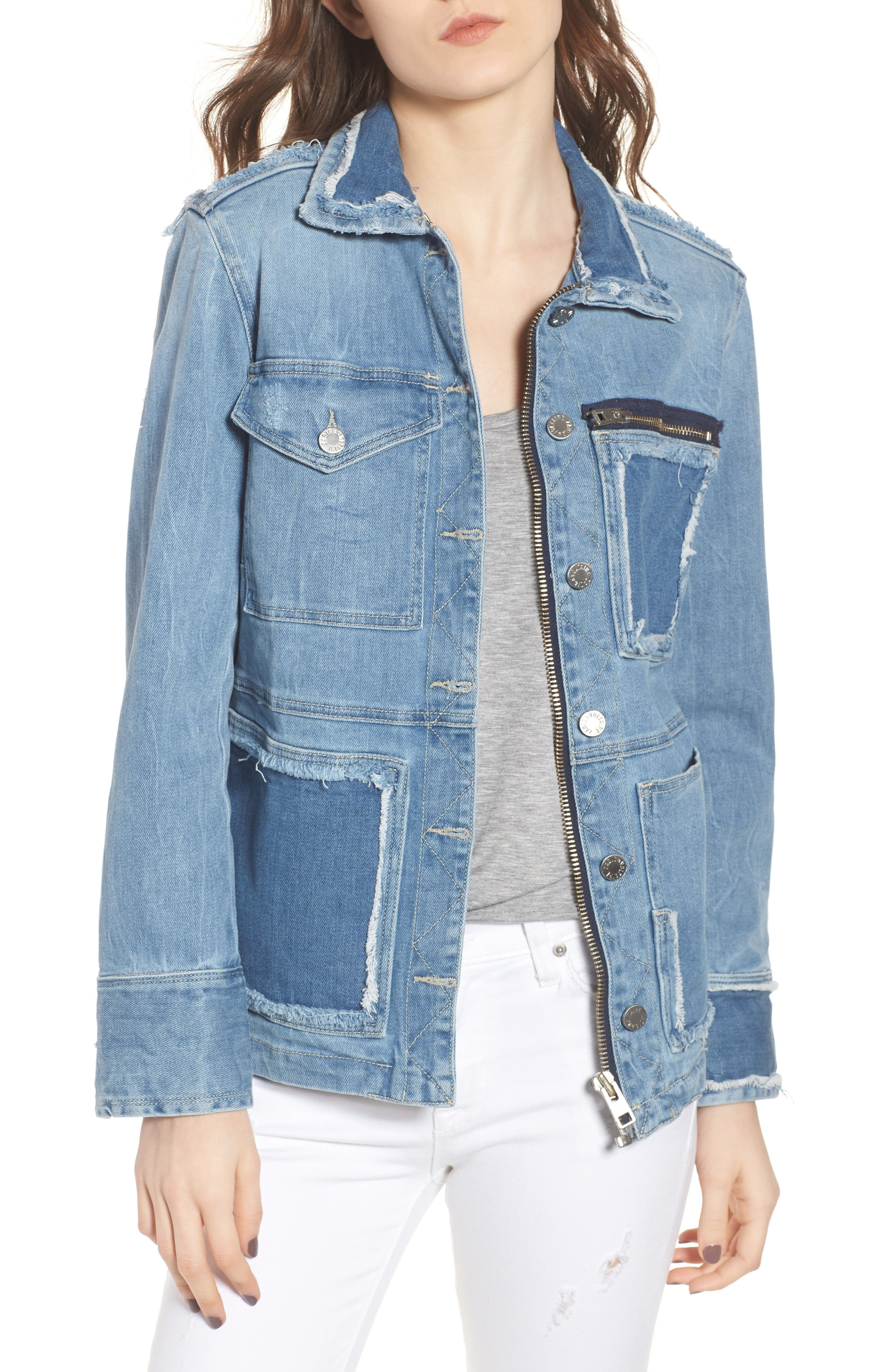 Kick Destroy Deconstructed Denim Jacket,                         Main,                         color, Bleu