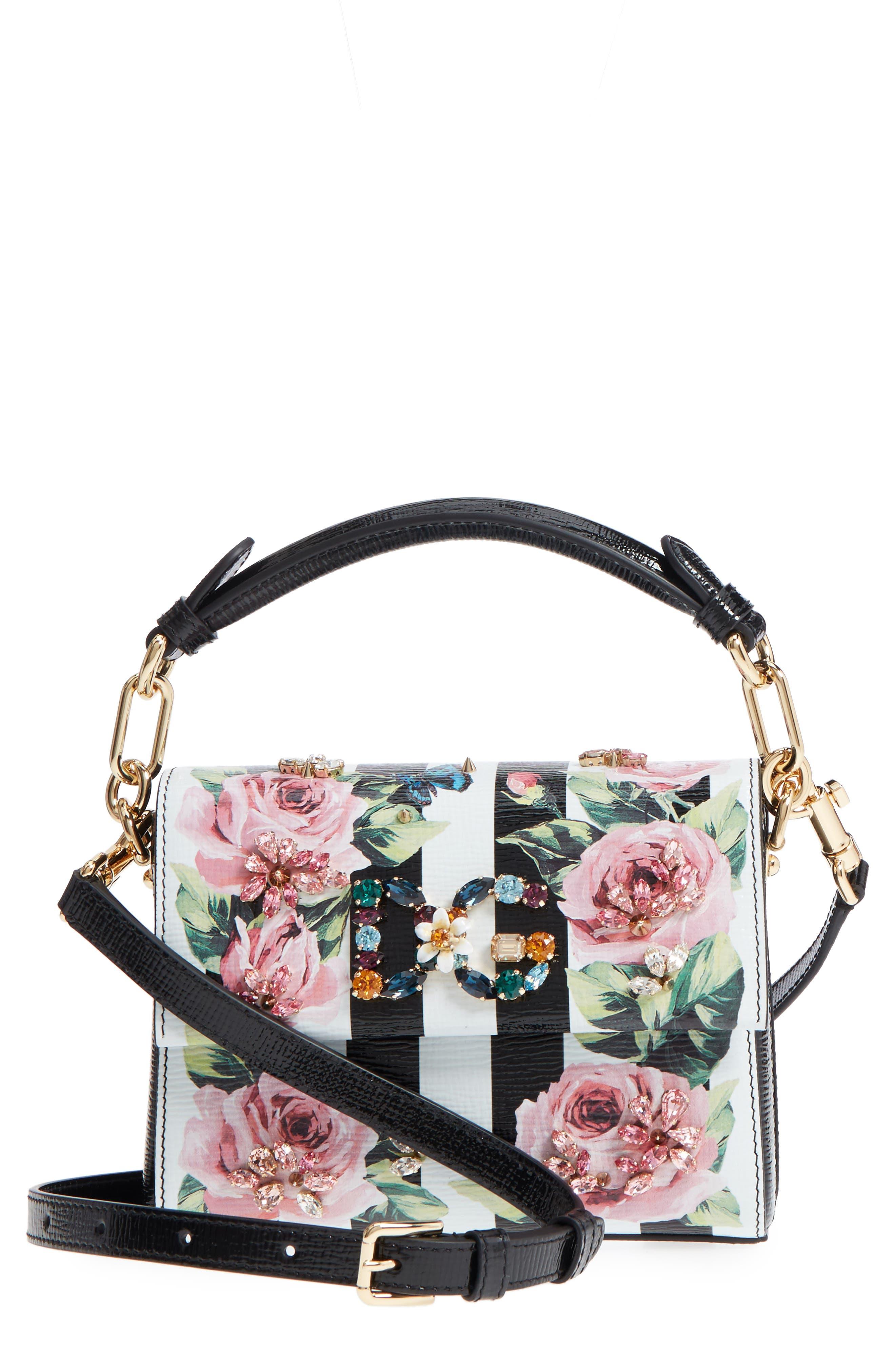 Millennial Crystal Logo Calfskin Crossbody Bag,                         Main,                         color, Rose/ White/ Nero