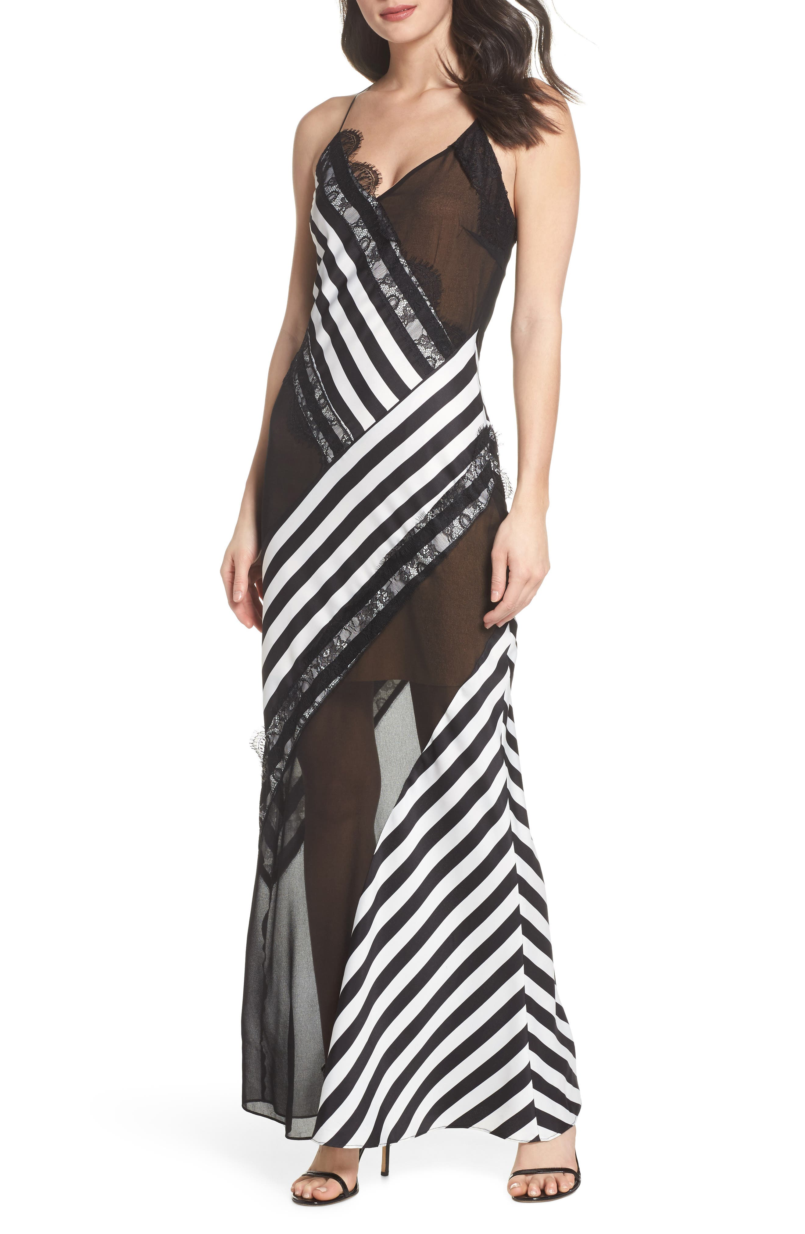 Illusion Stripe Gown,                             Main thumbnail 1, color,                             Black/ White