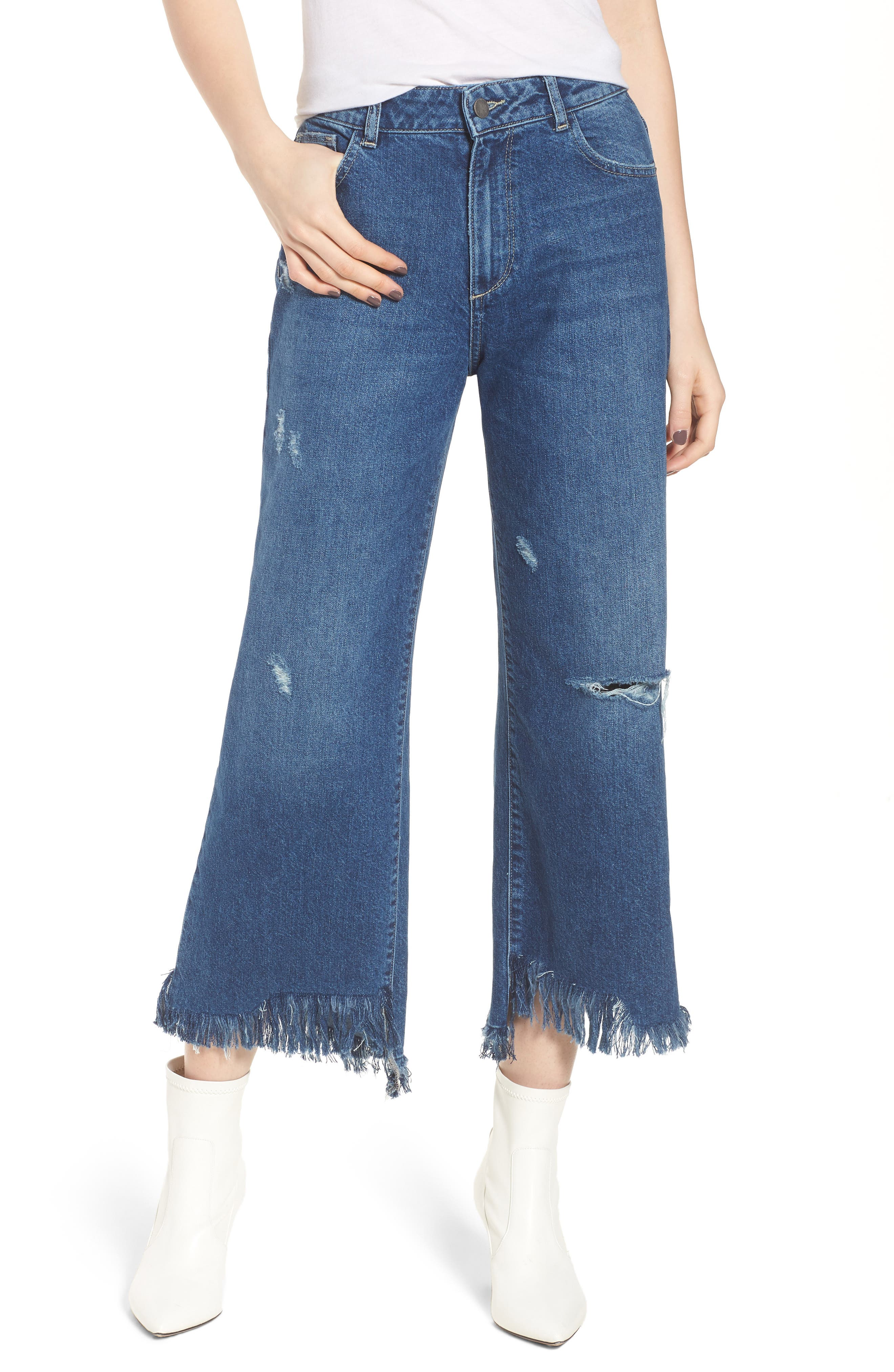 Hepburn High Waist Wide Leg Jeans,                         Main,                         color, Goldfield