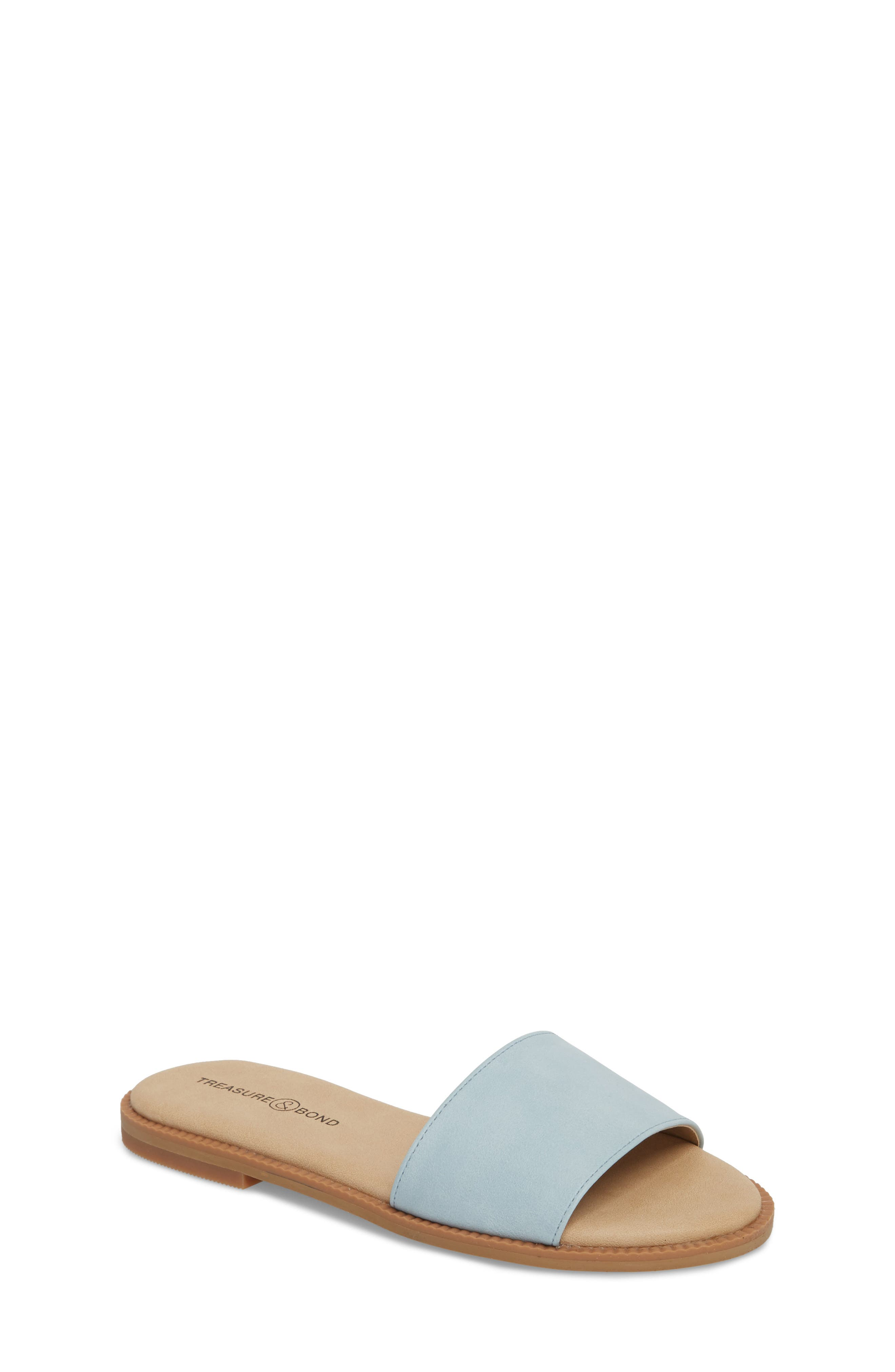 Mia Slide Sandal,                             Main thumbnail 1, color,                             Aqua Faux Leather