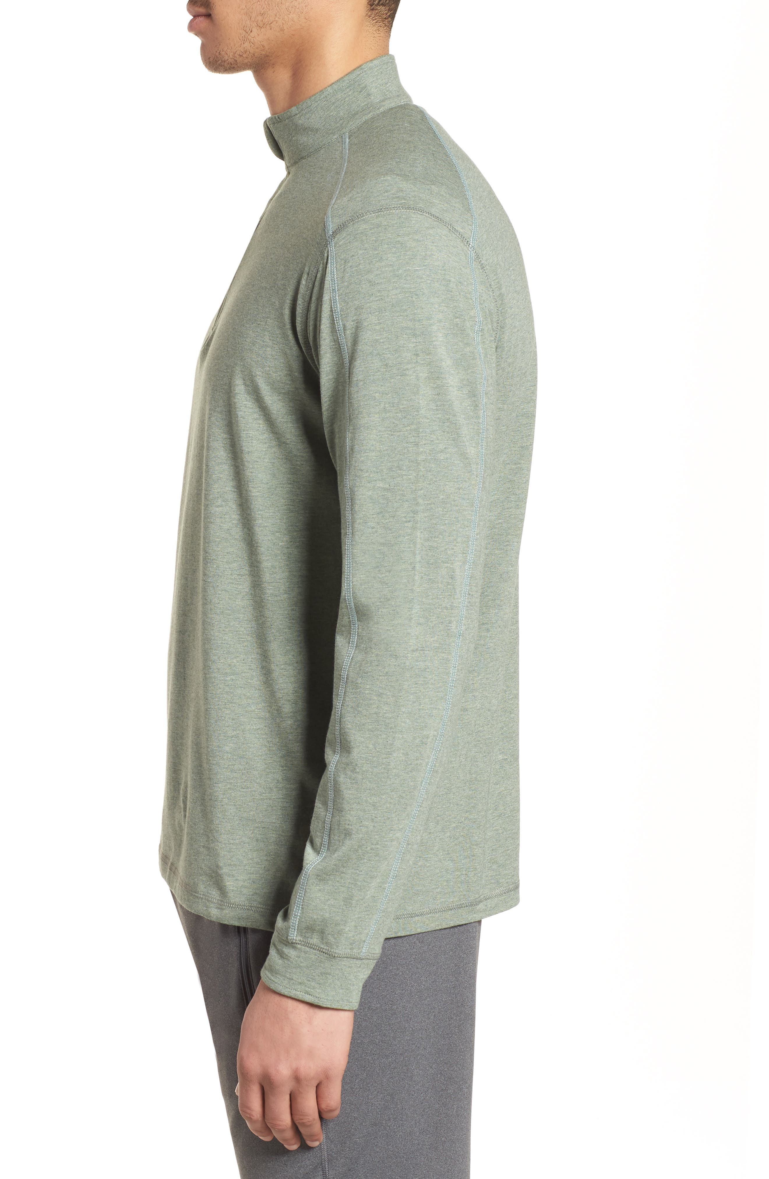 Carrollton Quarter Zip Sweatshirt,                             Alternate thumbnail 3, color,                             Kelp Heather