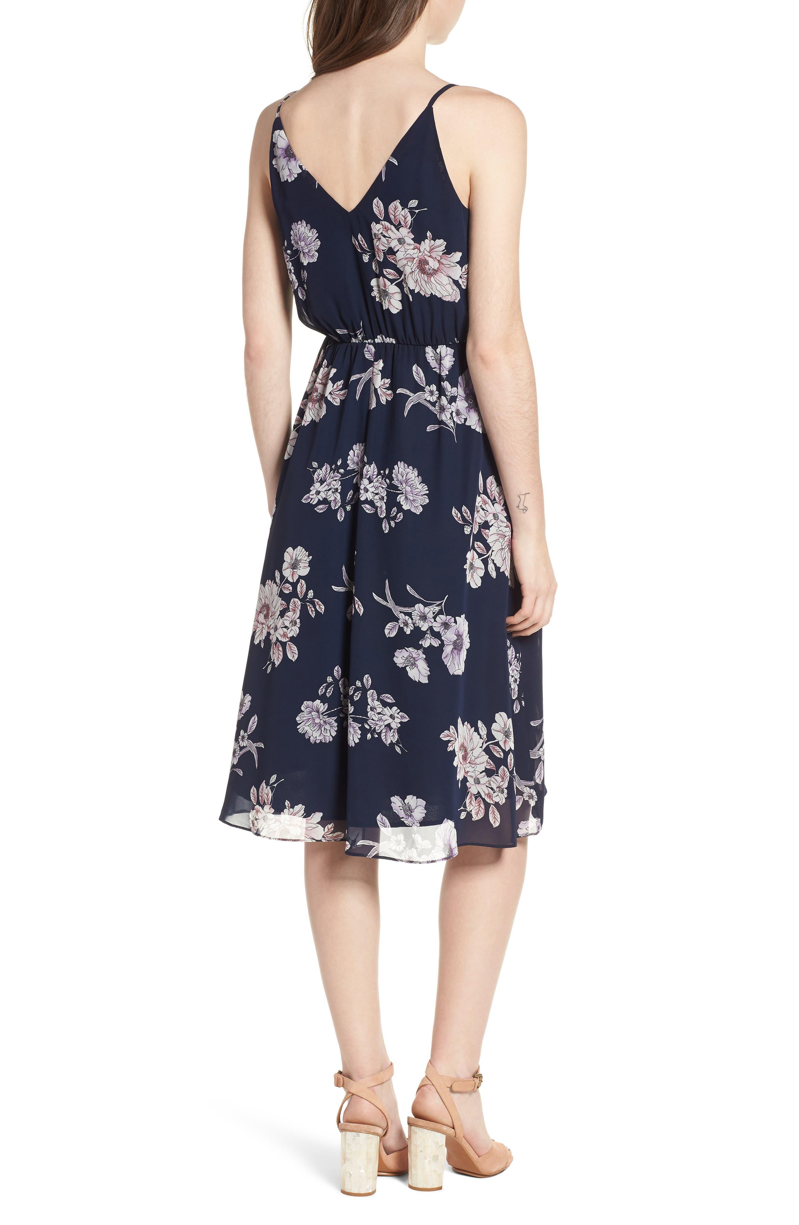 Floral Blouson Midi Dress,                             Alternate thumbnail 2, color,                             Navy