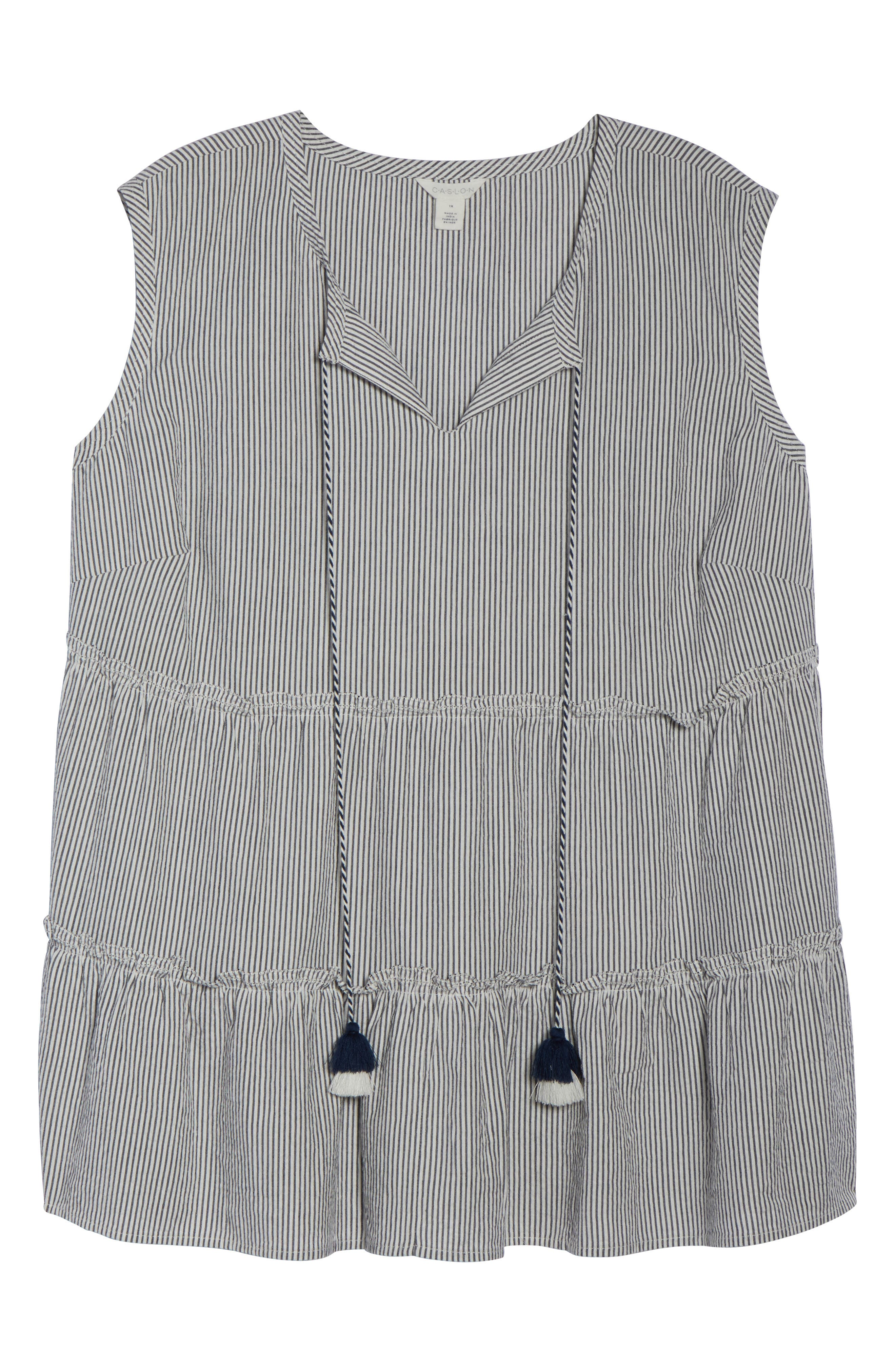 Tassel Tie Neck Tiered Ruffle Tank,                             Alternate thumbnail 7, color,                             Navy- Ivory Stripe