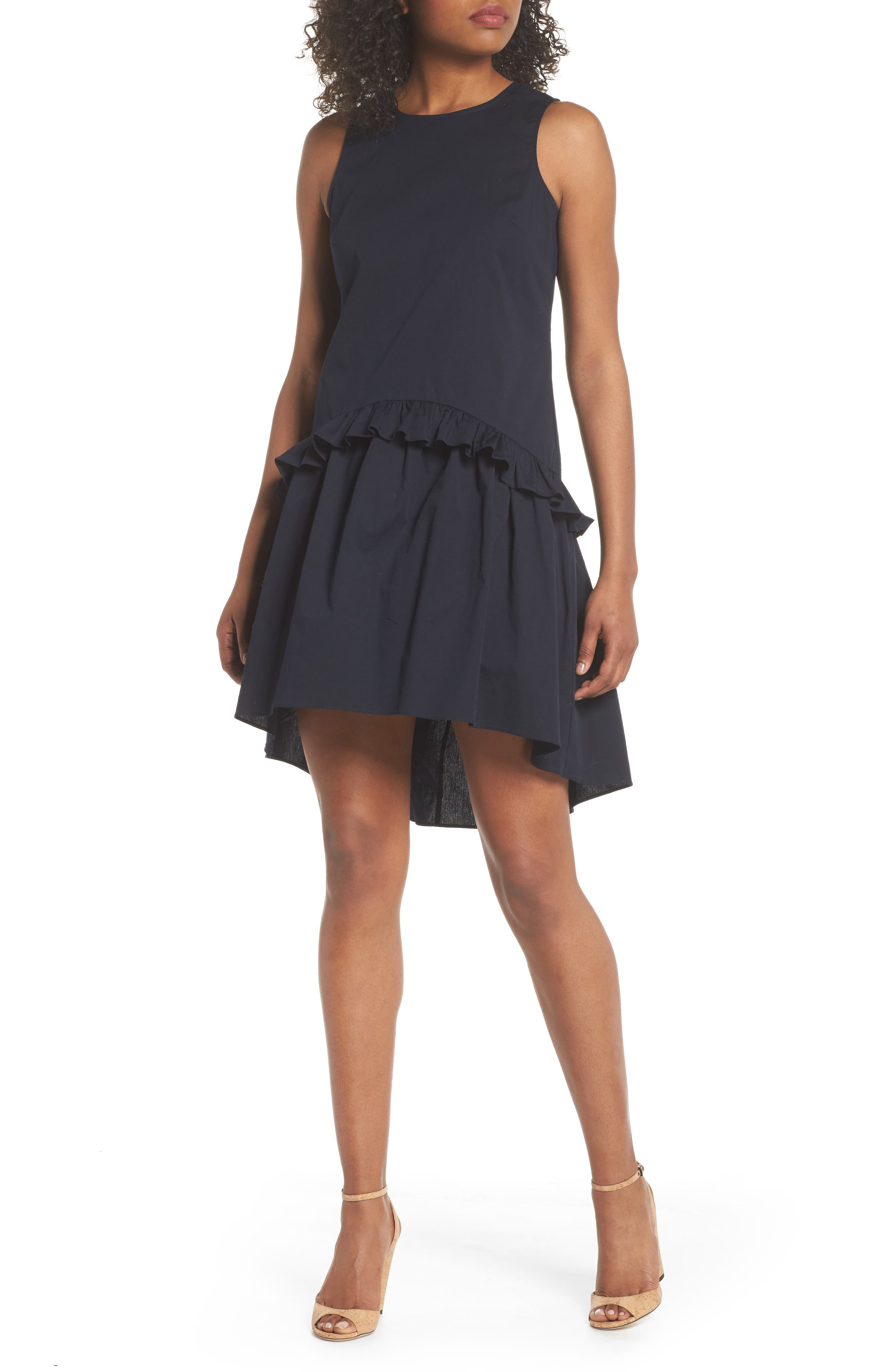Sleeveless Ruffle High/Low Dress,                             Main thumbnail 1, color,                             Dark Navy