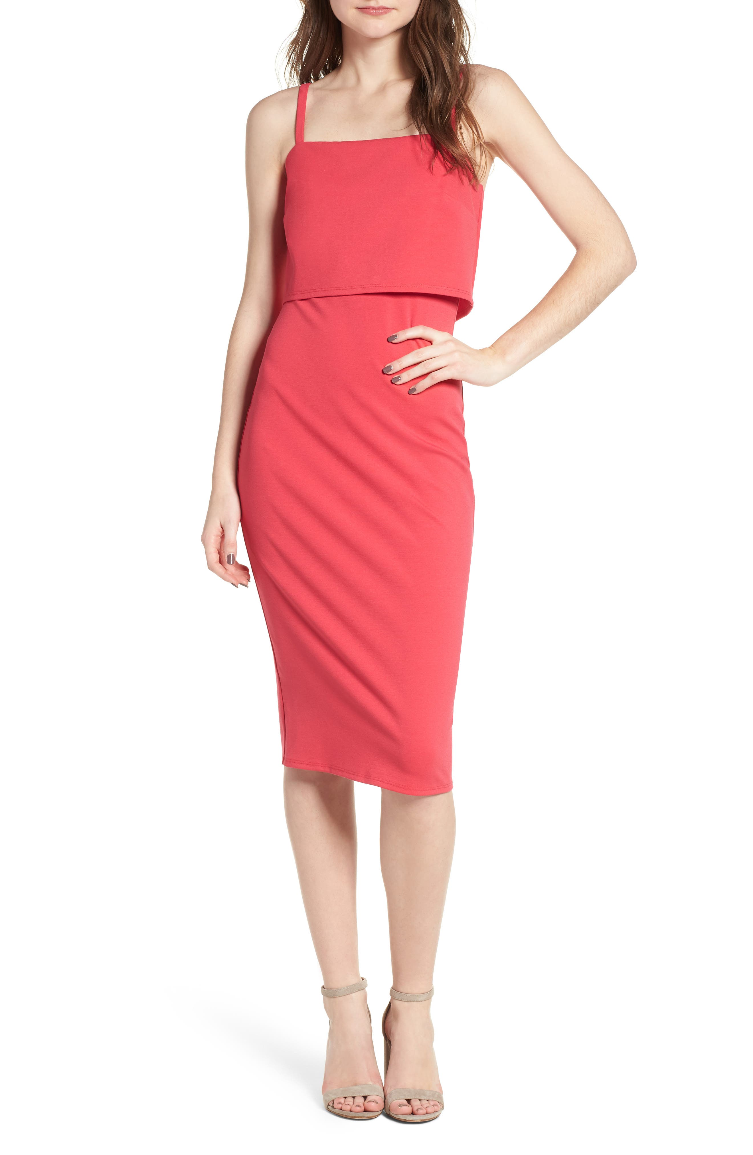 Popover Midi Body-Con Dress,                             Main thumbnail 1, color,                             Hibiscus