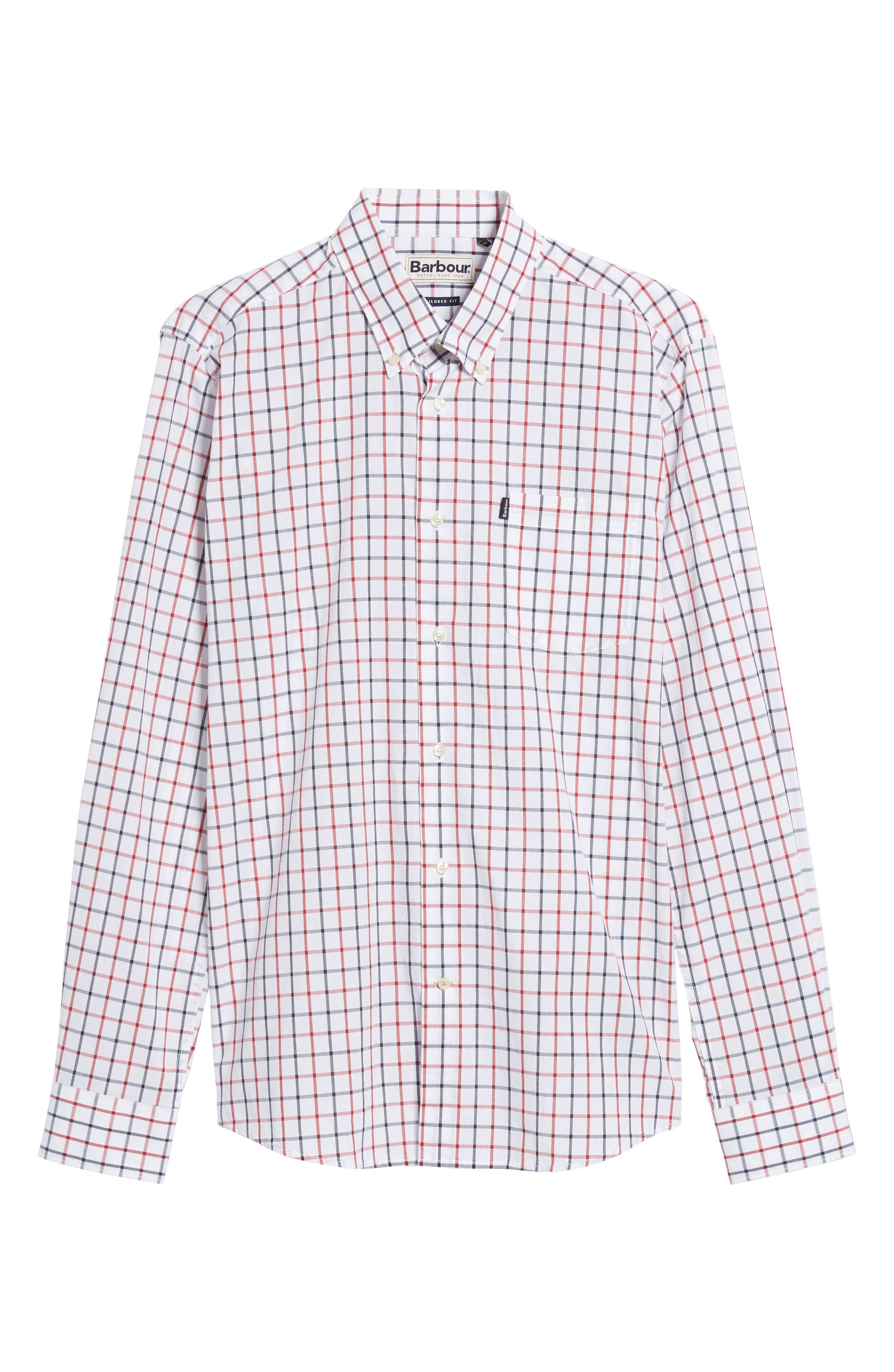 Henry Trim Fit Check Short Sleeve Sport Shirt,                             Alternate thumbnail 6, color,                             White