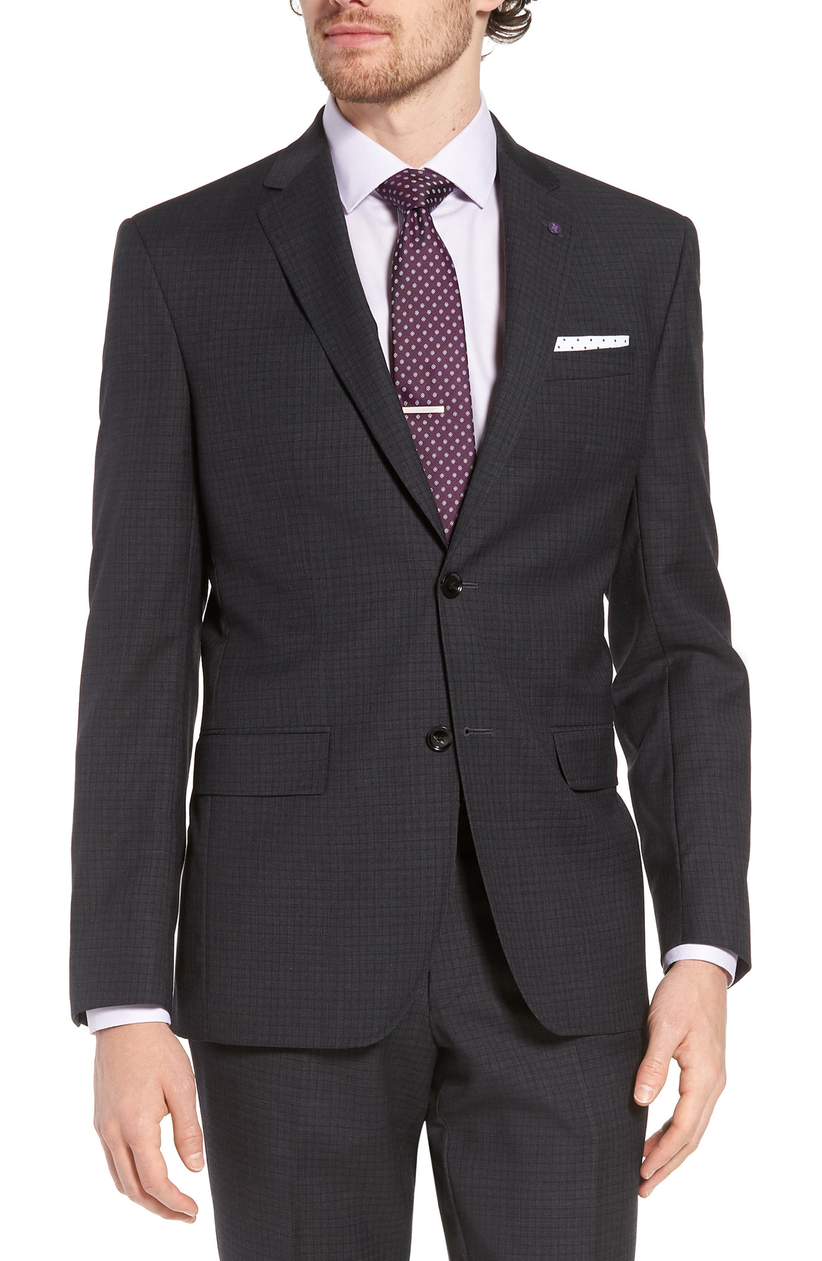 Jay Trim Fit Check Wool Suit,                             Alternate thumbnail 5, color,                             Charcoal
