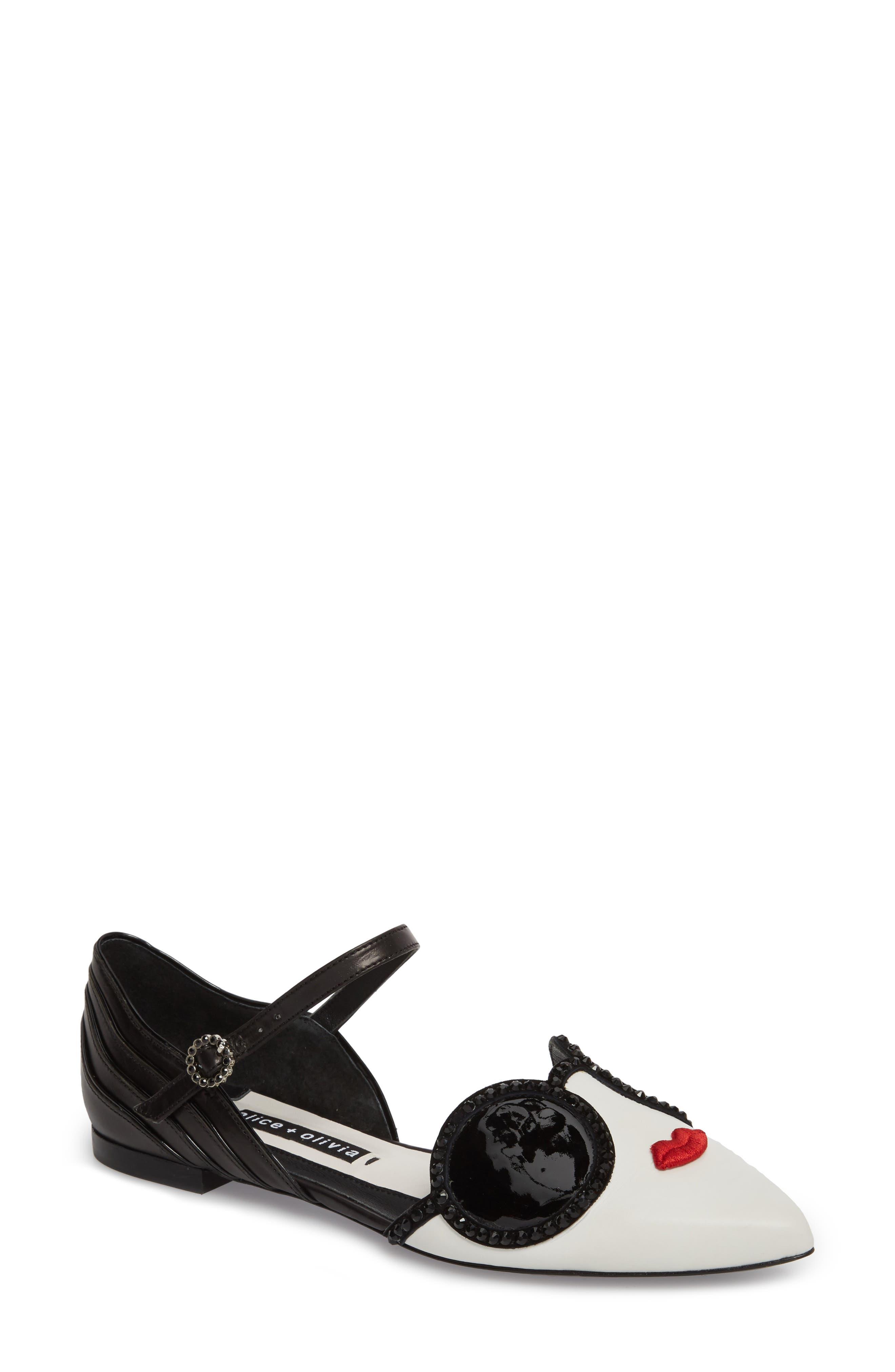 Lexi Embellished Pointy Toe Flat,                             Main thumbnail 1, color,                             Bianco/ Black/ Poppy