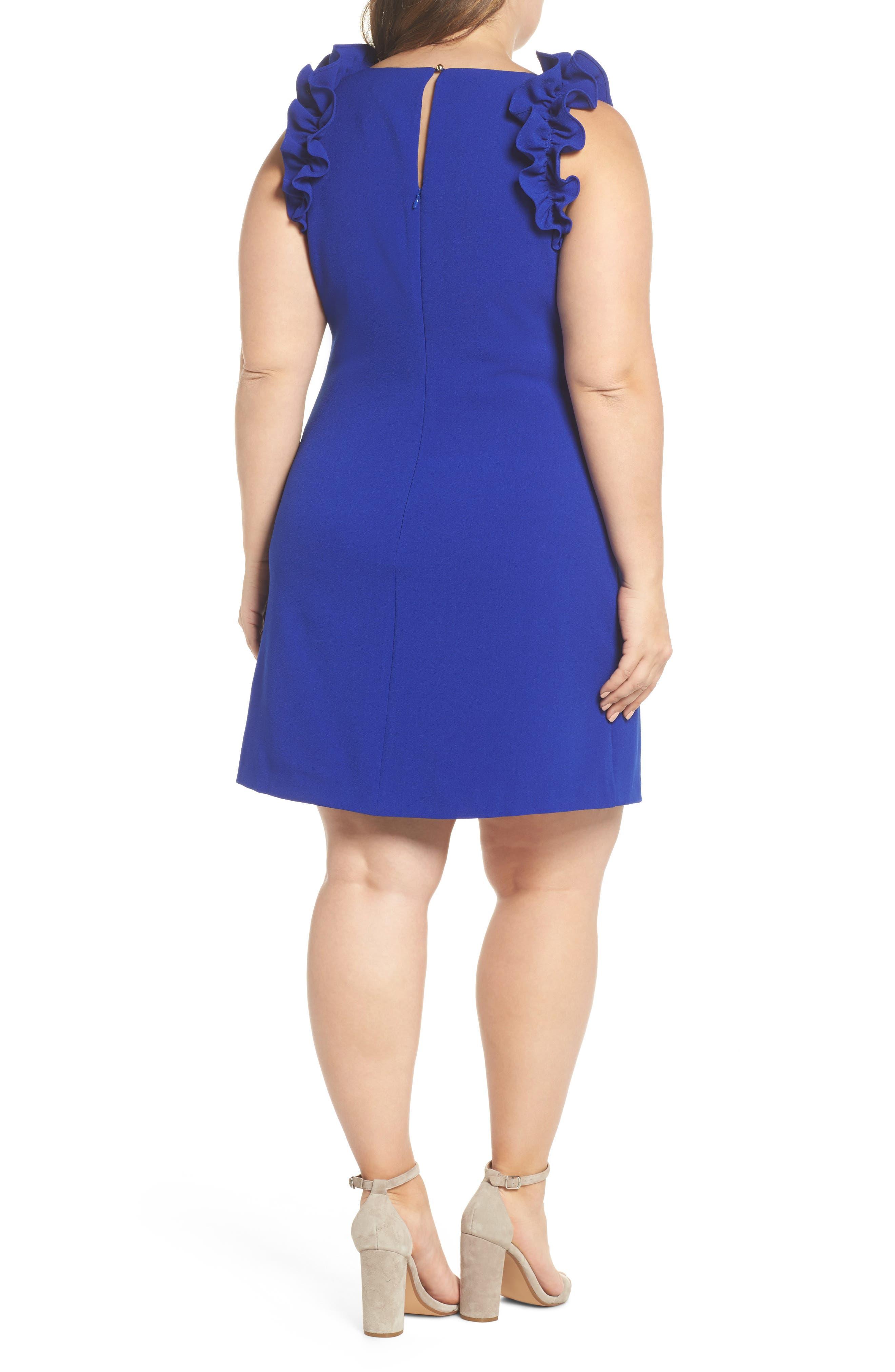 Ruffle Shoulder Crepe Shift Dress,                             Alternate thumbnail 2, color,                             Blue Surf