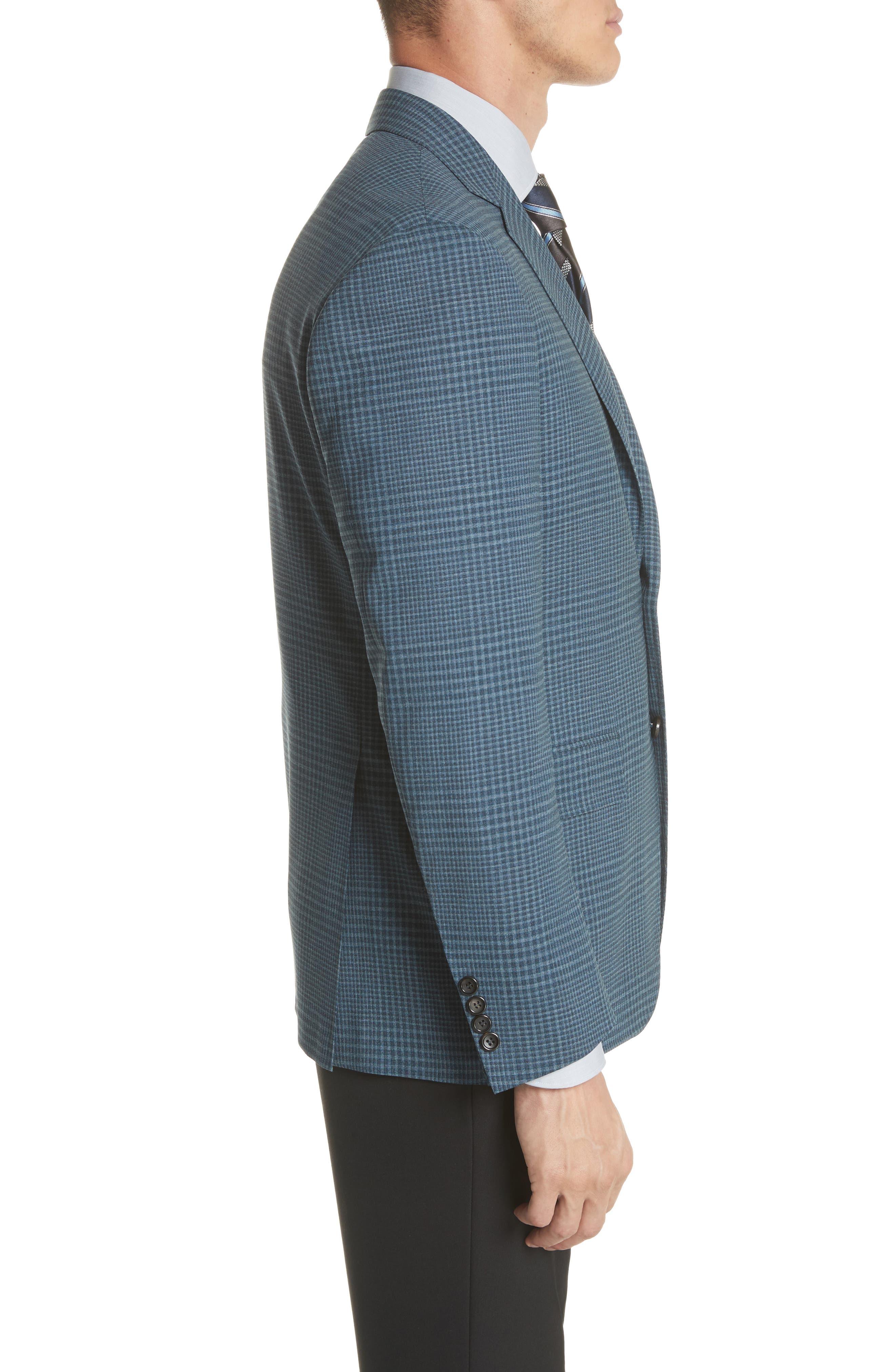 Kei Classic Fit Plaid Wool Sport Coat,                             Alternate thumbnail 3, color,                             Navy