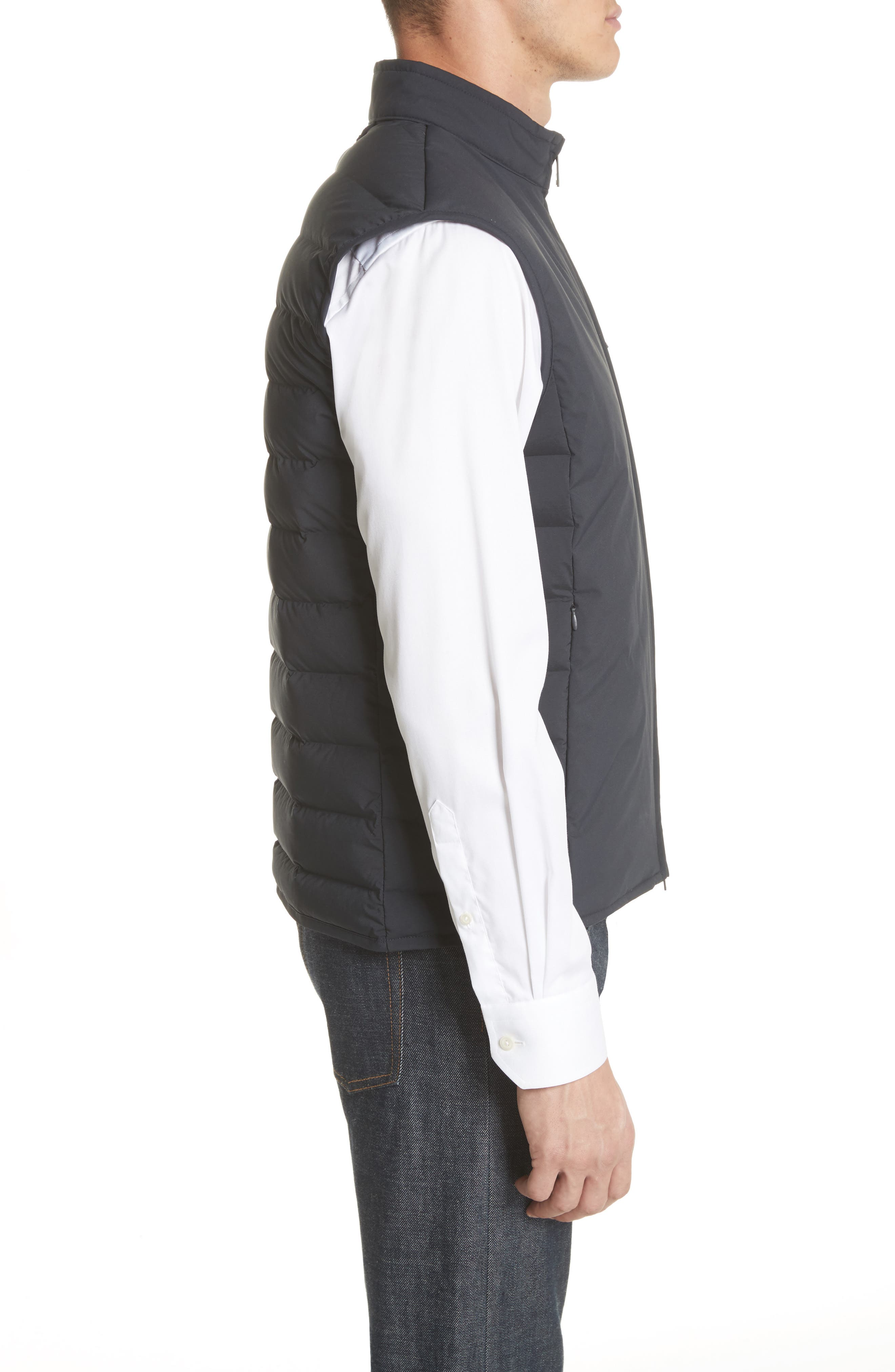 Quilted Microfiber Vest,                             Alternate thumbnail 3, color,                             Navy