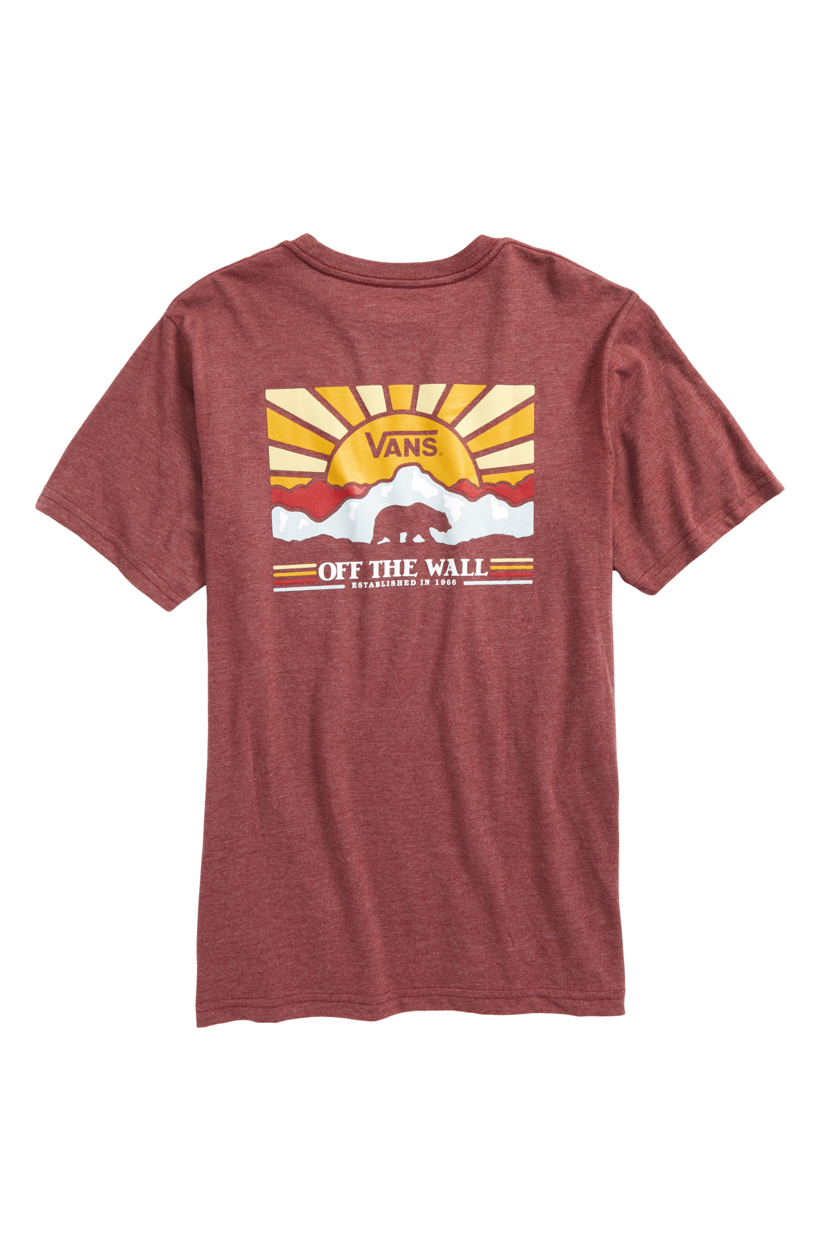 Grizzly Mountain Graphic T-Shirt,                             Alternate thumbnail 2, color,                             Burgundy Heather