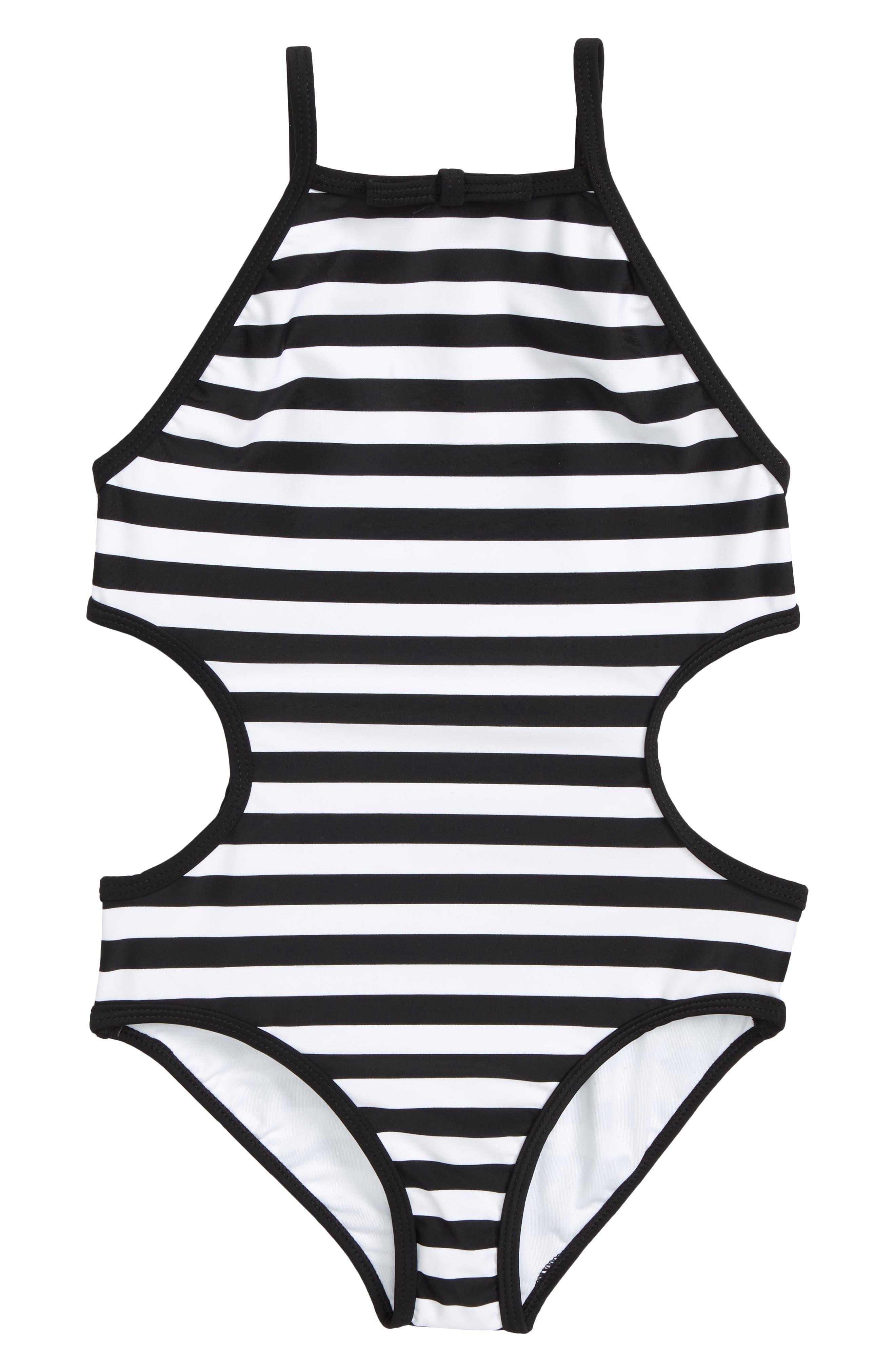 cutout one-piece swimsuit,                         Main,                         color, Black/ Fresh White