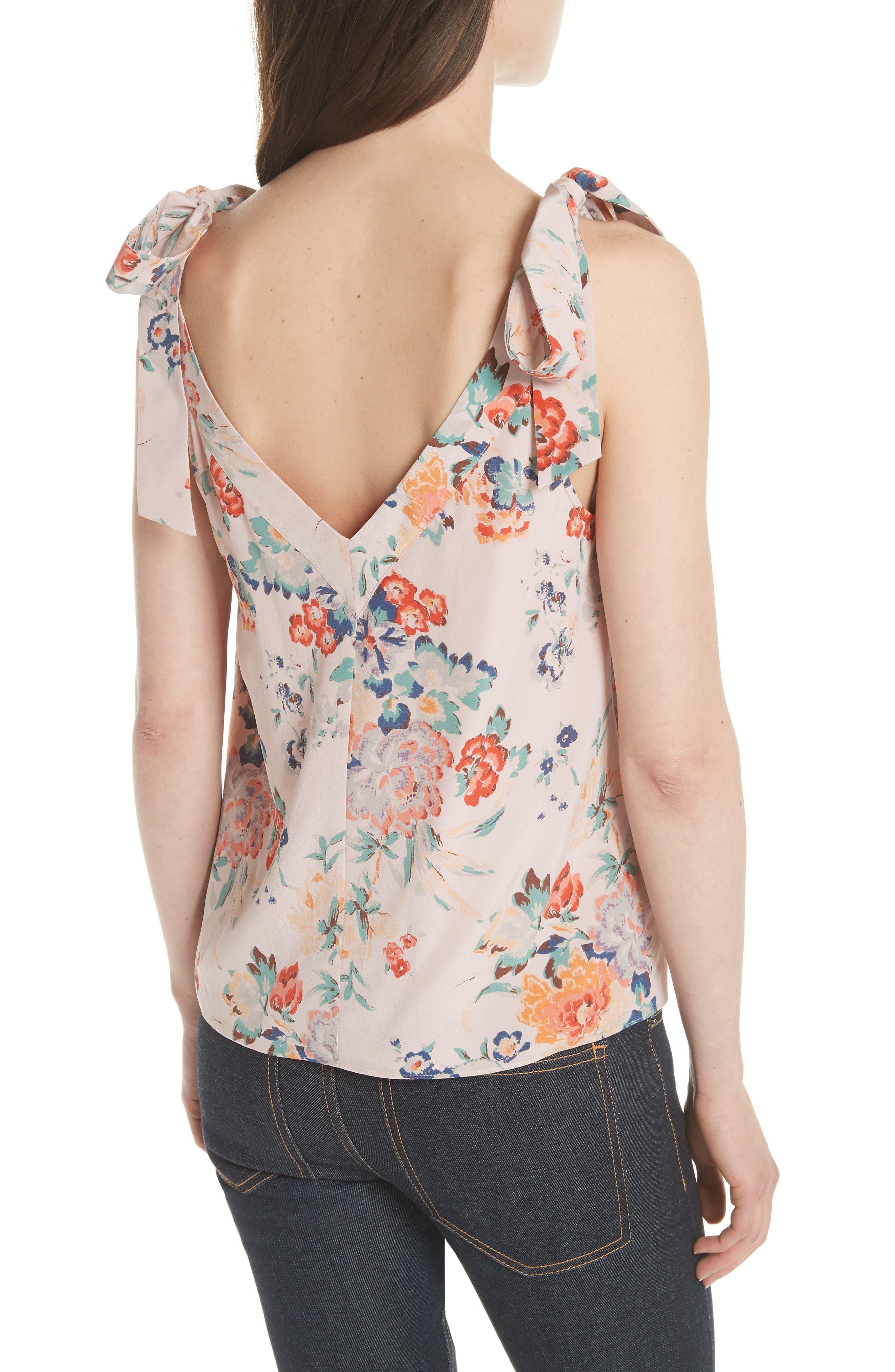 Marlena Floral Silk Tank,                             Alternate thumbnail 2, color,                             Dusty Rose Combo