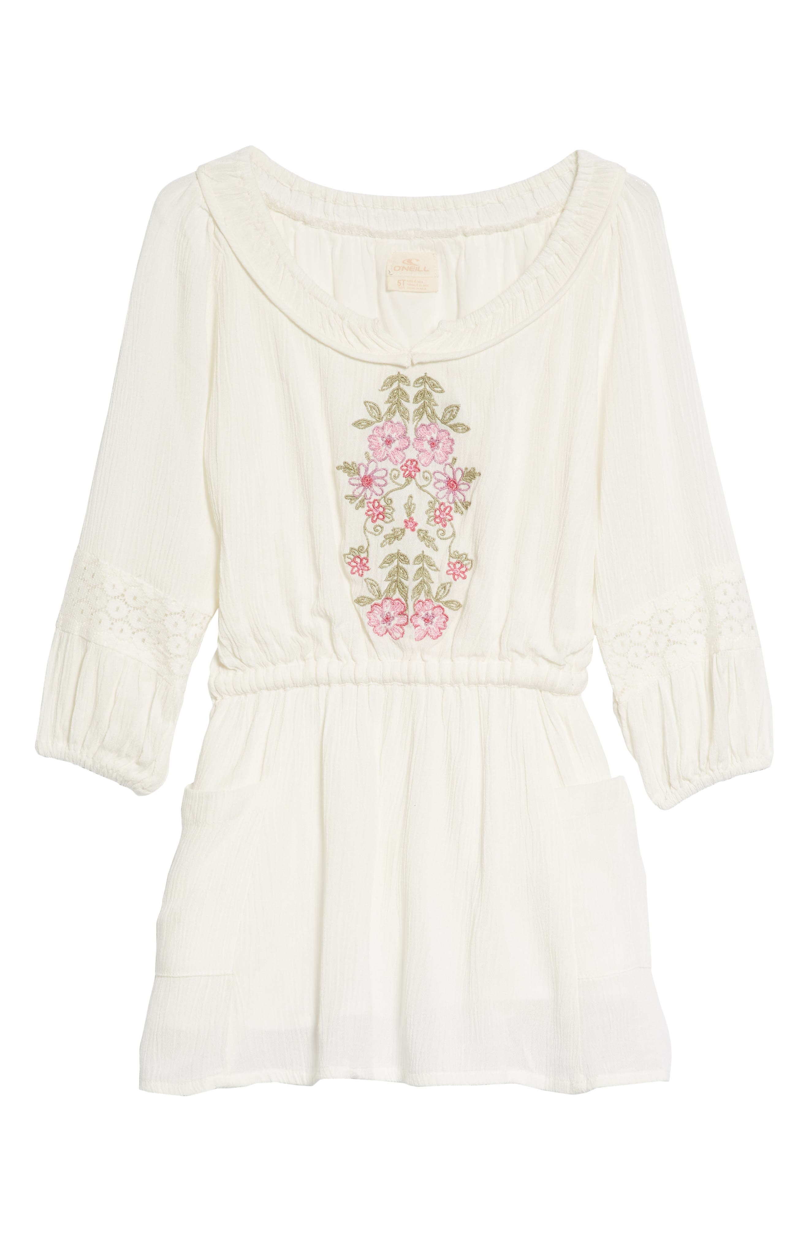 Malina Floral Embroidered Dress,                             Main thumbnail 1, color,                             White