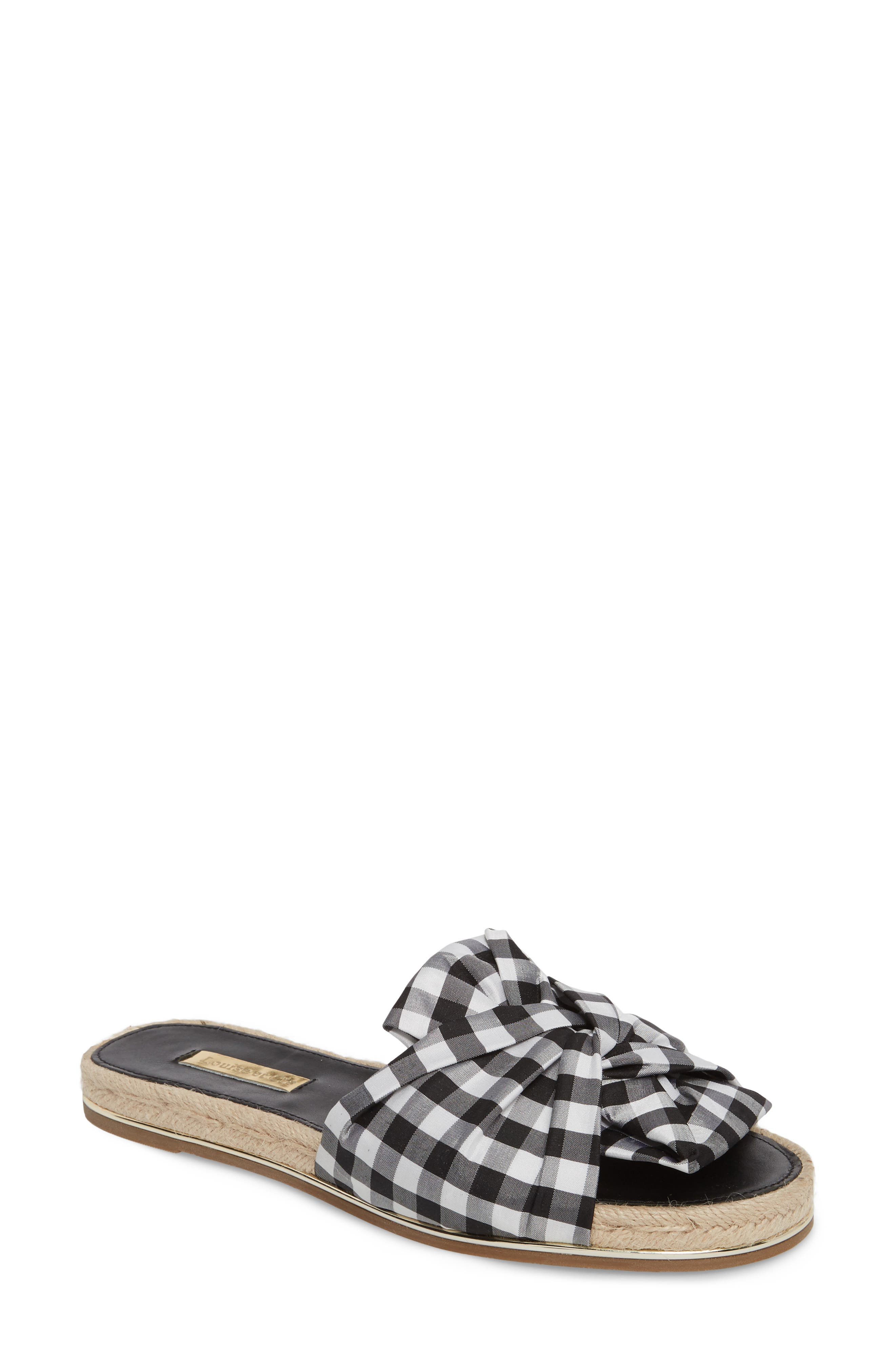 Camille Espadrille Slide Sandal, Main, color, Black/ White Gingham Fabric