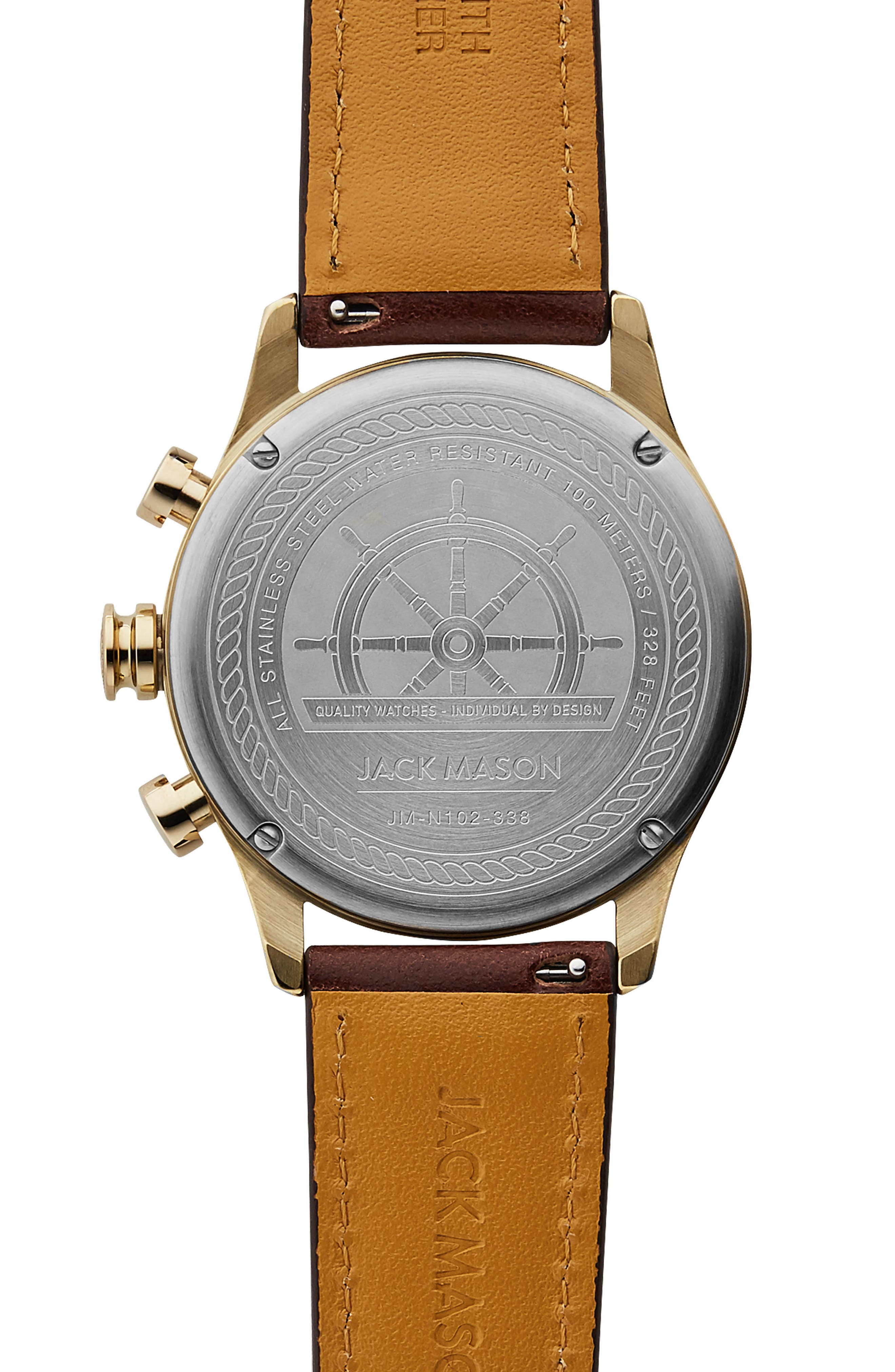 Nautical Chronograph Leather Strap Watch, 42mm,                             Alternate thumbnail 3, color,                             Grey/ Brown