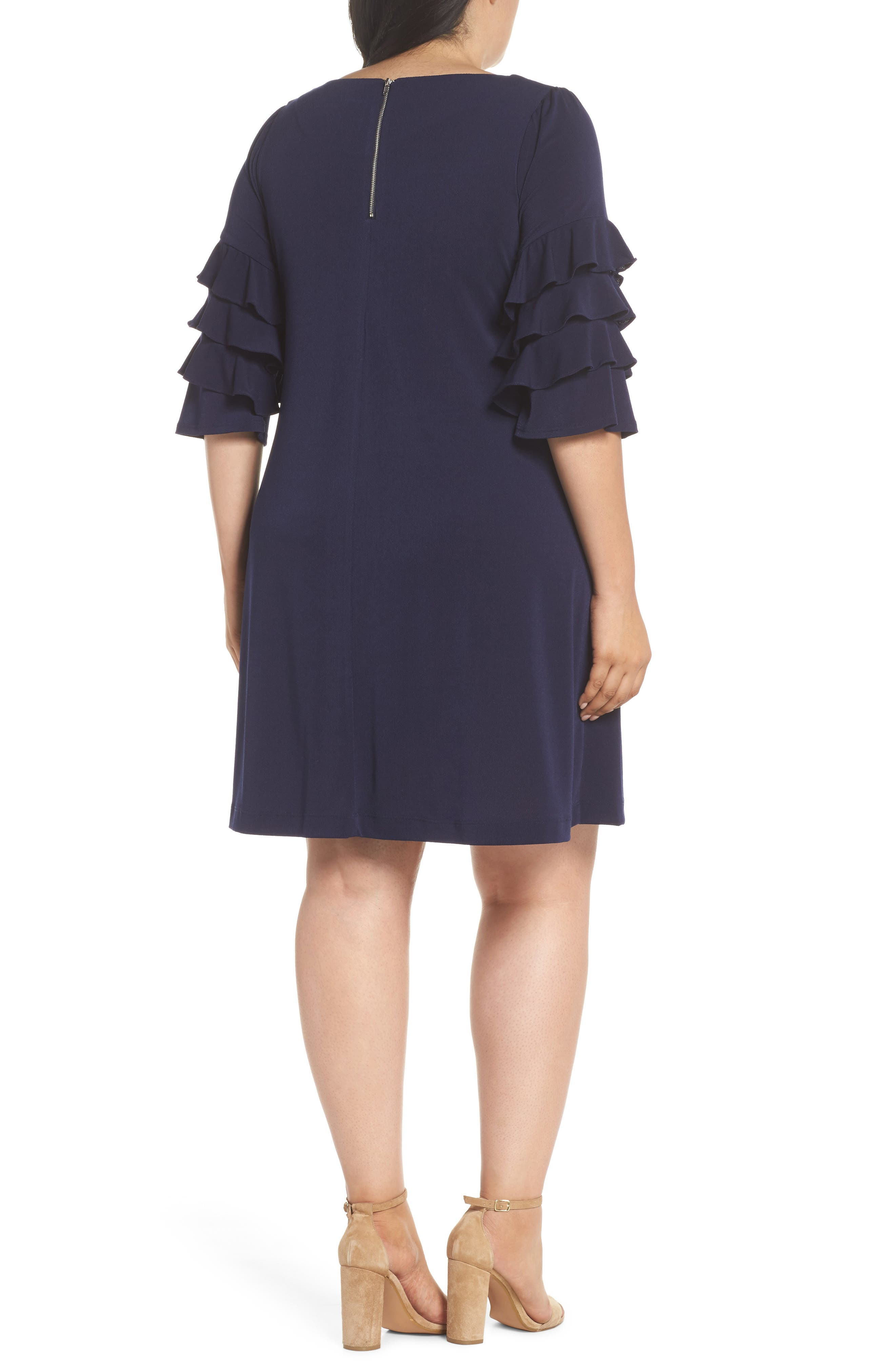 Tiered Ruffle Sleeve Shift Dress,                             Alternate thumbnail 2, color,                             Navy