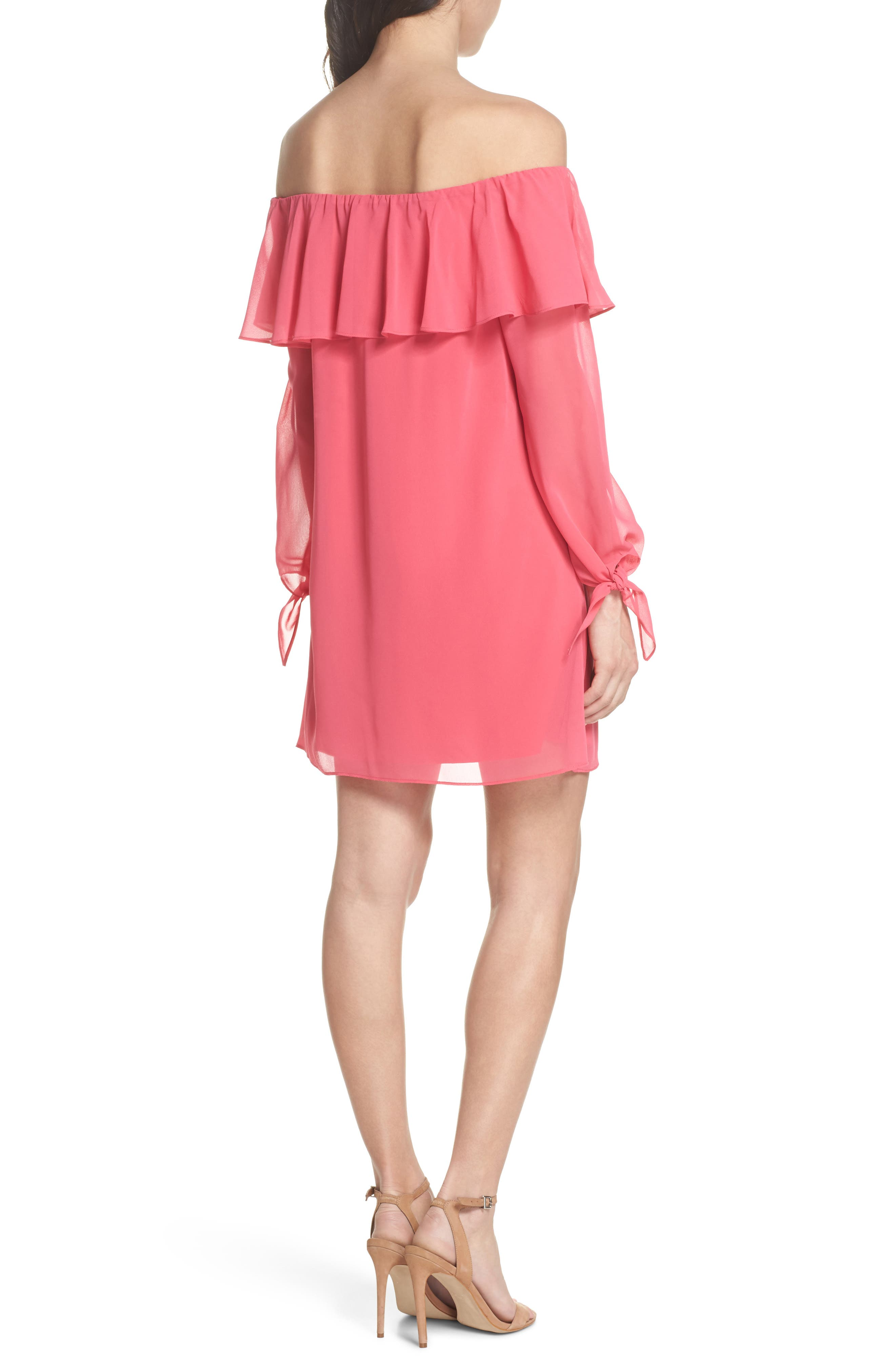 Off the Shoulder Tie-Cuff Shift Dress,                             Alternate thumbnail 2, color,                             Hot Pink