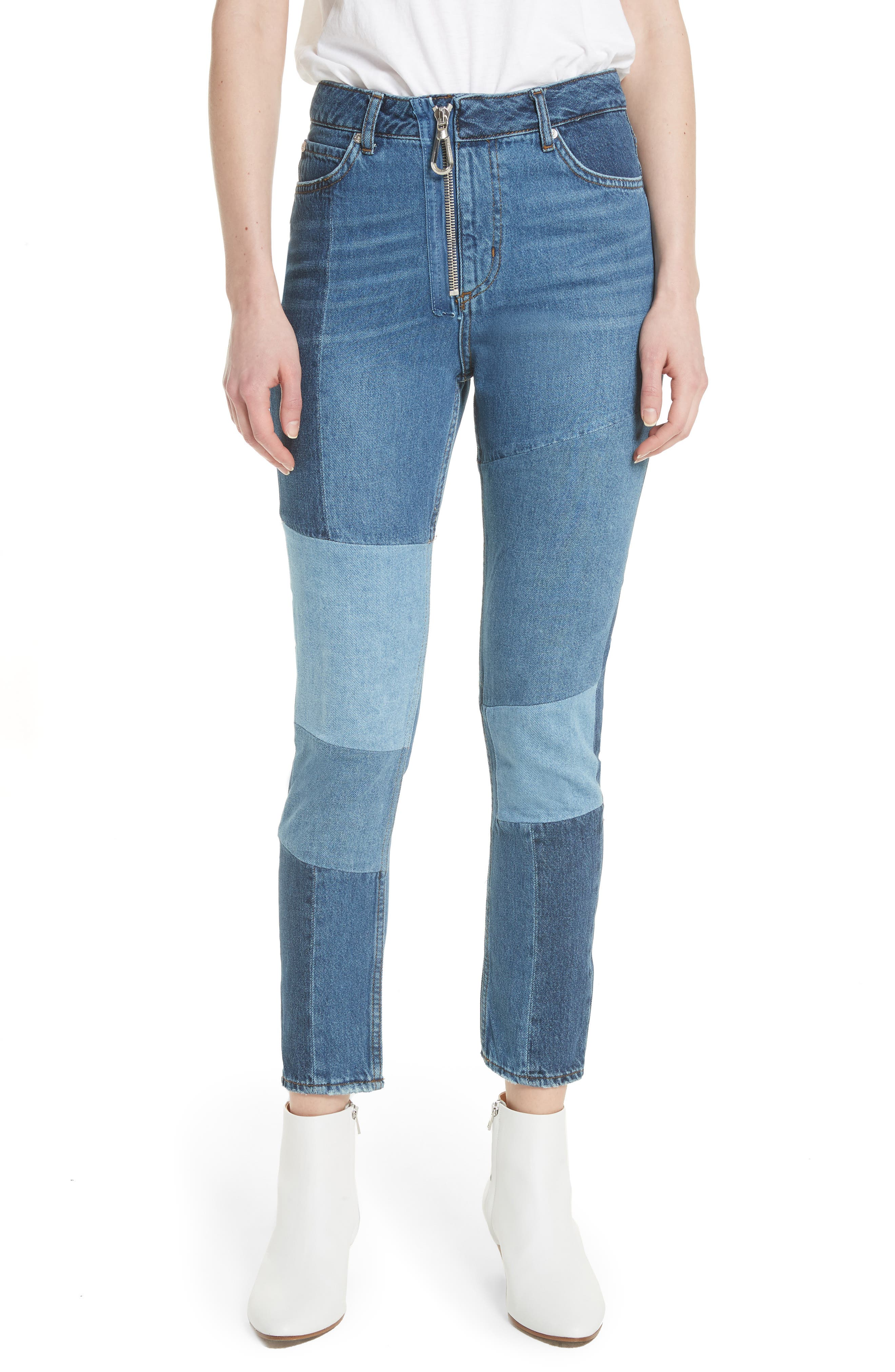 Patch Skinny Jeans,                         Main,                         color, Blue