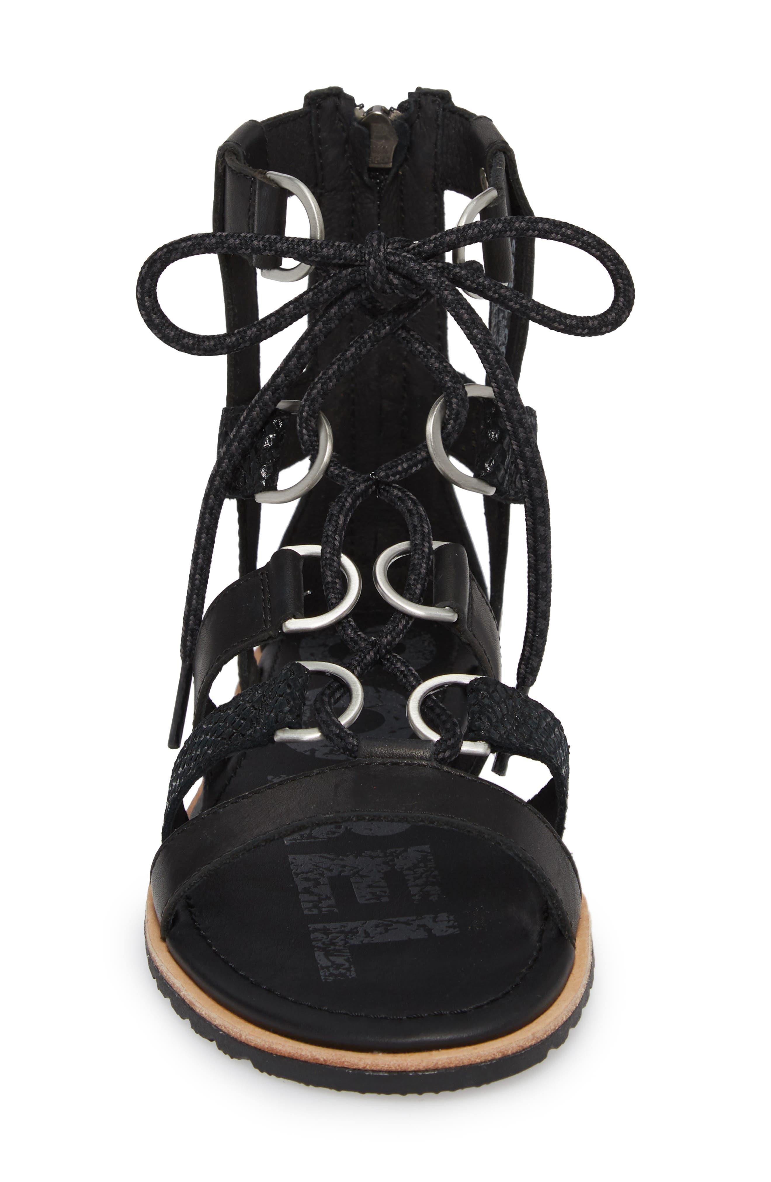 Ella Gladiator Sandal,                             Alternate thumbnail 4, color,                             Black
