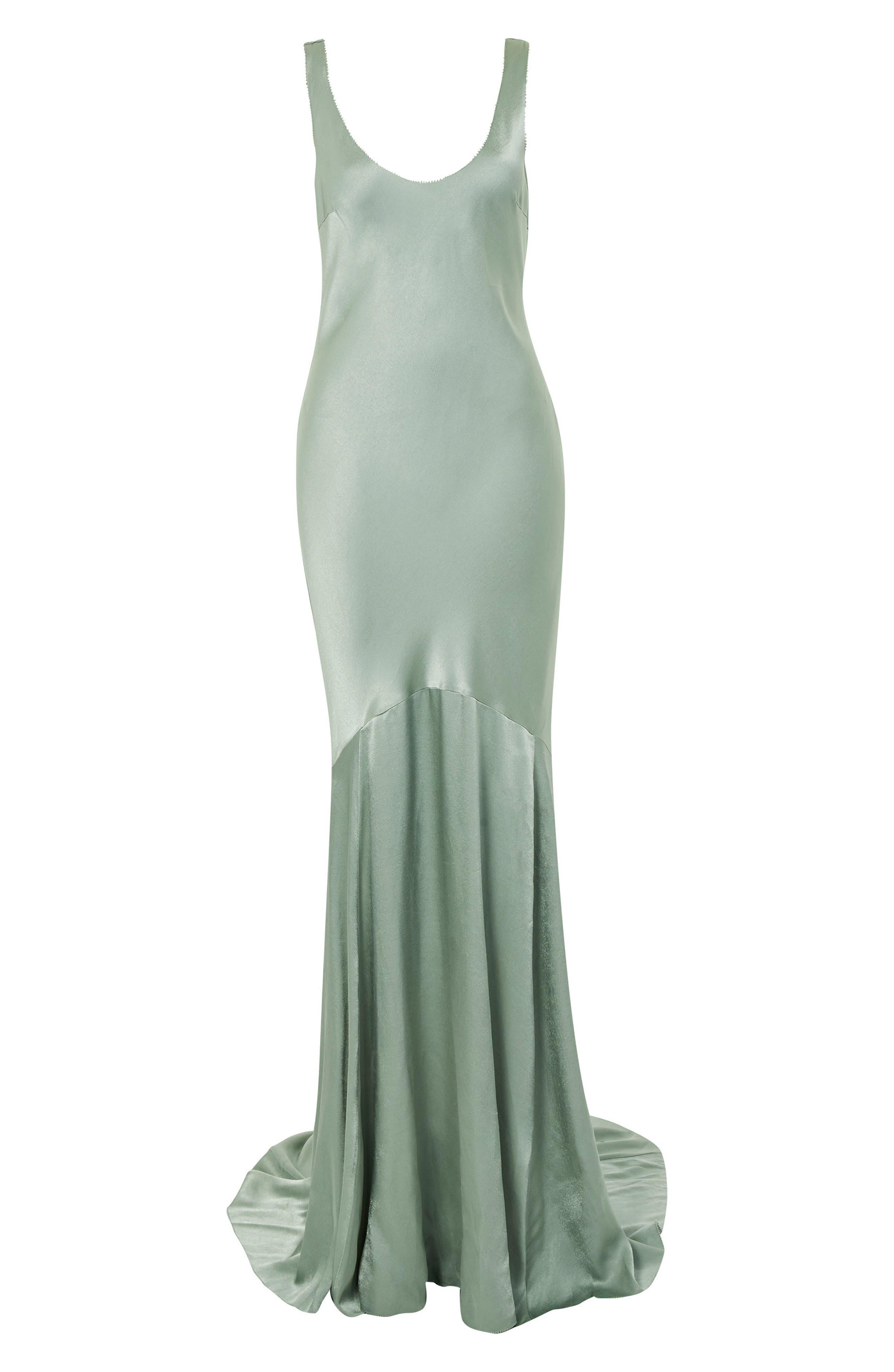 Satin Fishtail Gown,                             Alternate thumbnail 4, color,                             Green