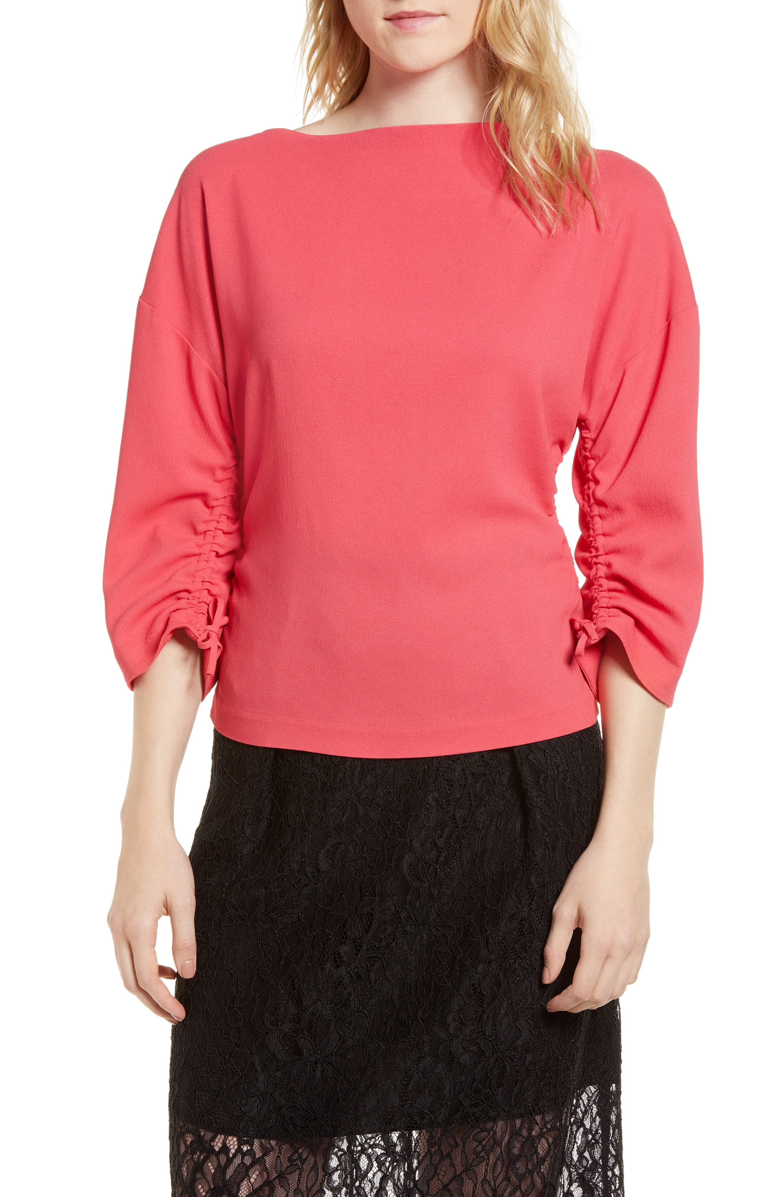 Lewit Ruched Crepe Top