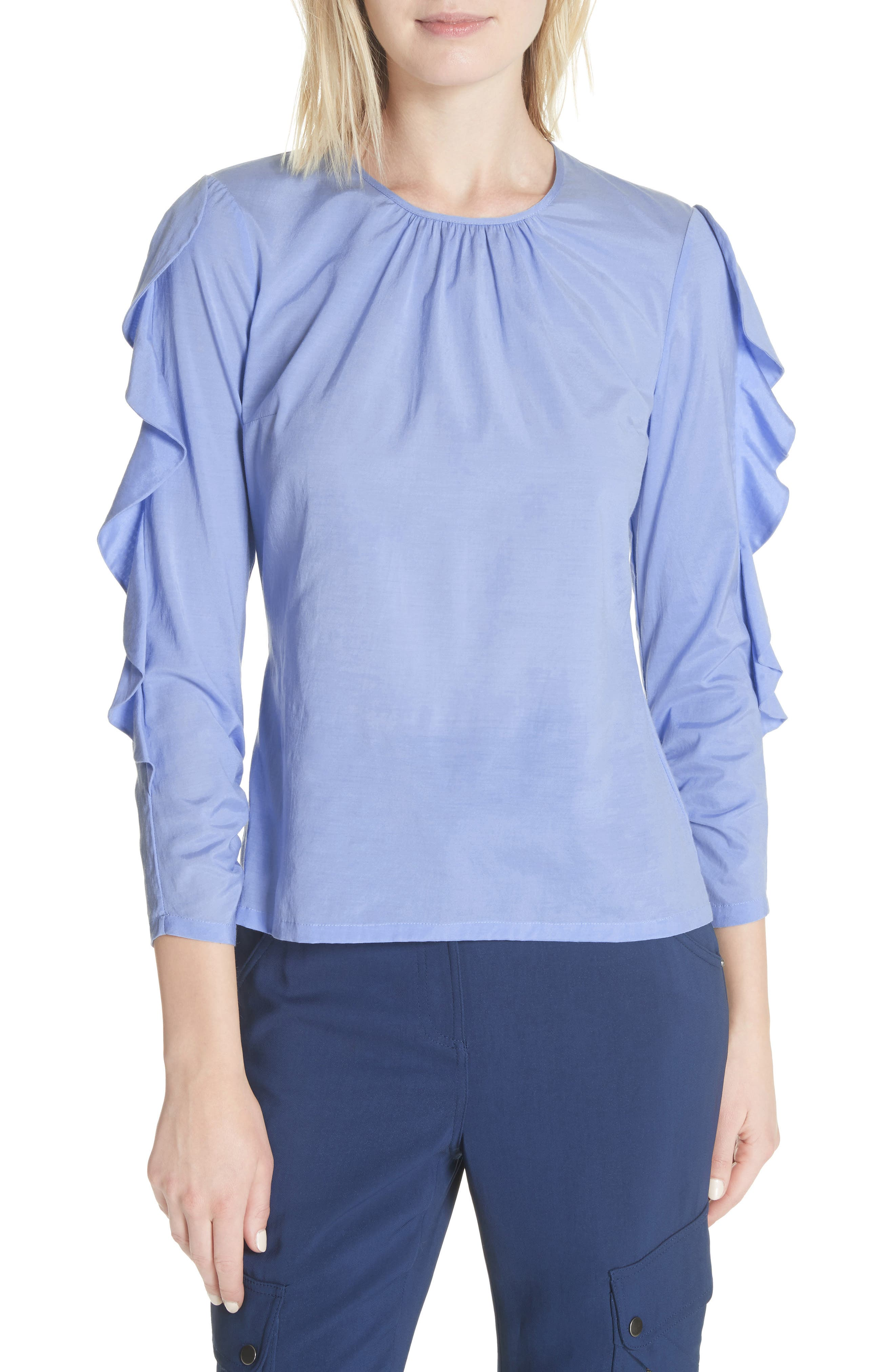 Frilled Stretch Silk Top,                             Main thumbnail 1, color,                             Periwinkle