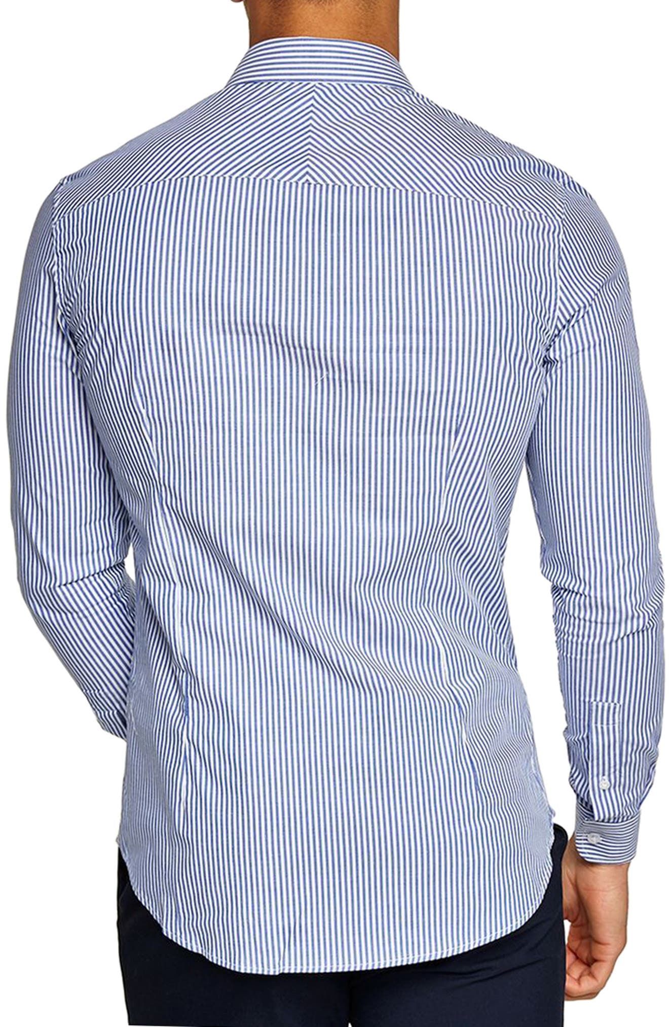 Muscle Fit Stripe Shirt,                             Alternate thumbnail 2, color,                             Blue Multi